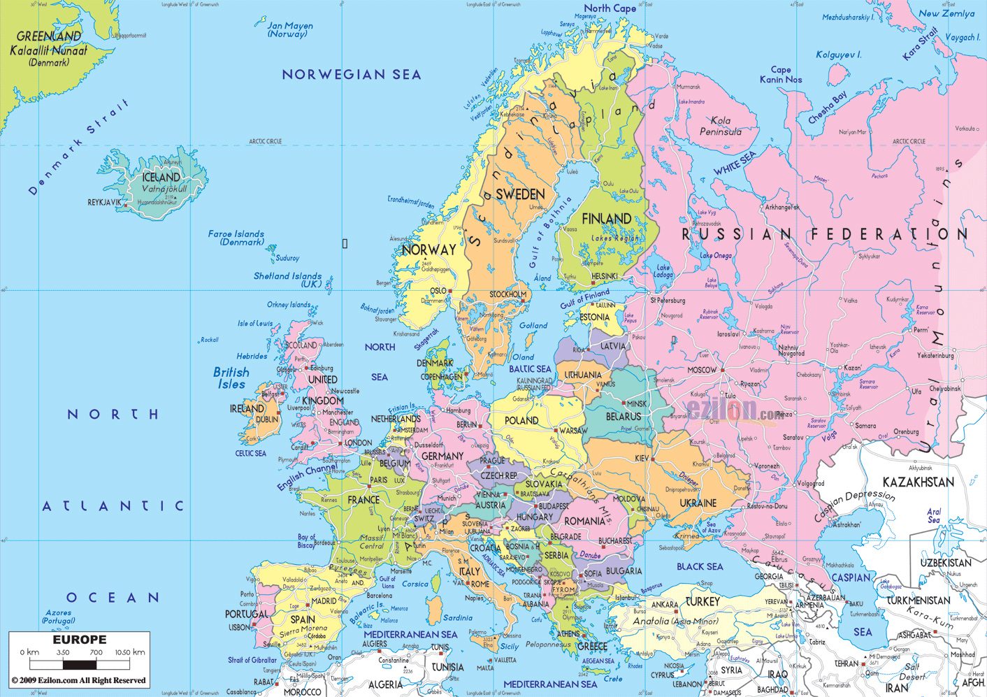 Maps Of Europe | Map Of Europe In English | Political - Large Map Of Europe Printable