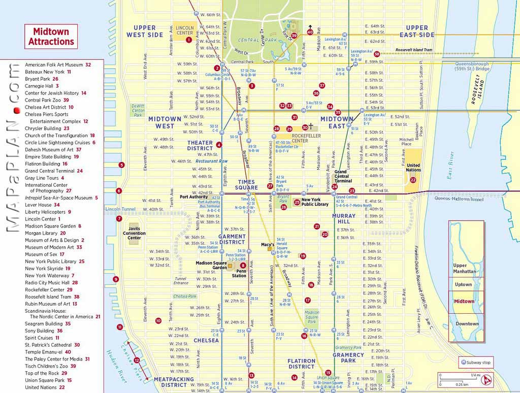 Maps Of New York Top Tourist Attractions - Free, Printable - Printable Walking Map Of Midtown Manhattan