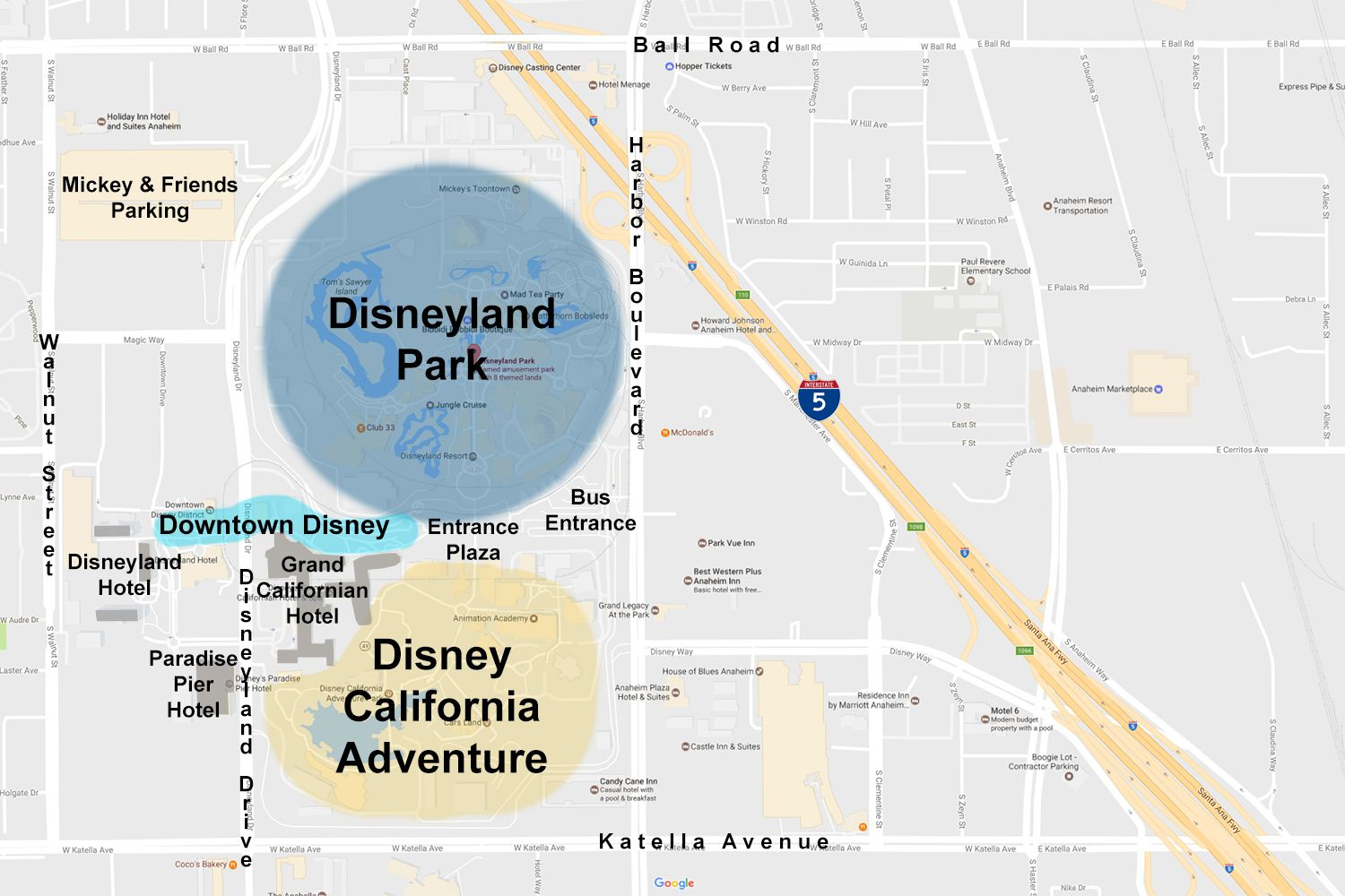 Maps Of The Disneyland Resort - Map Of Anaheim California And Surrounding Areas