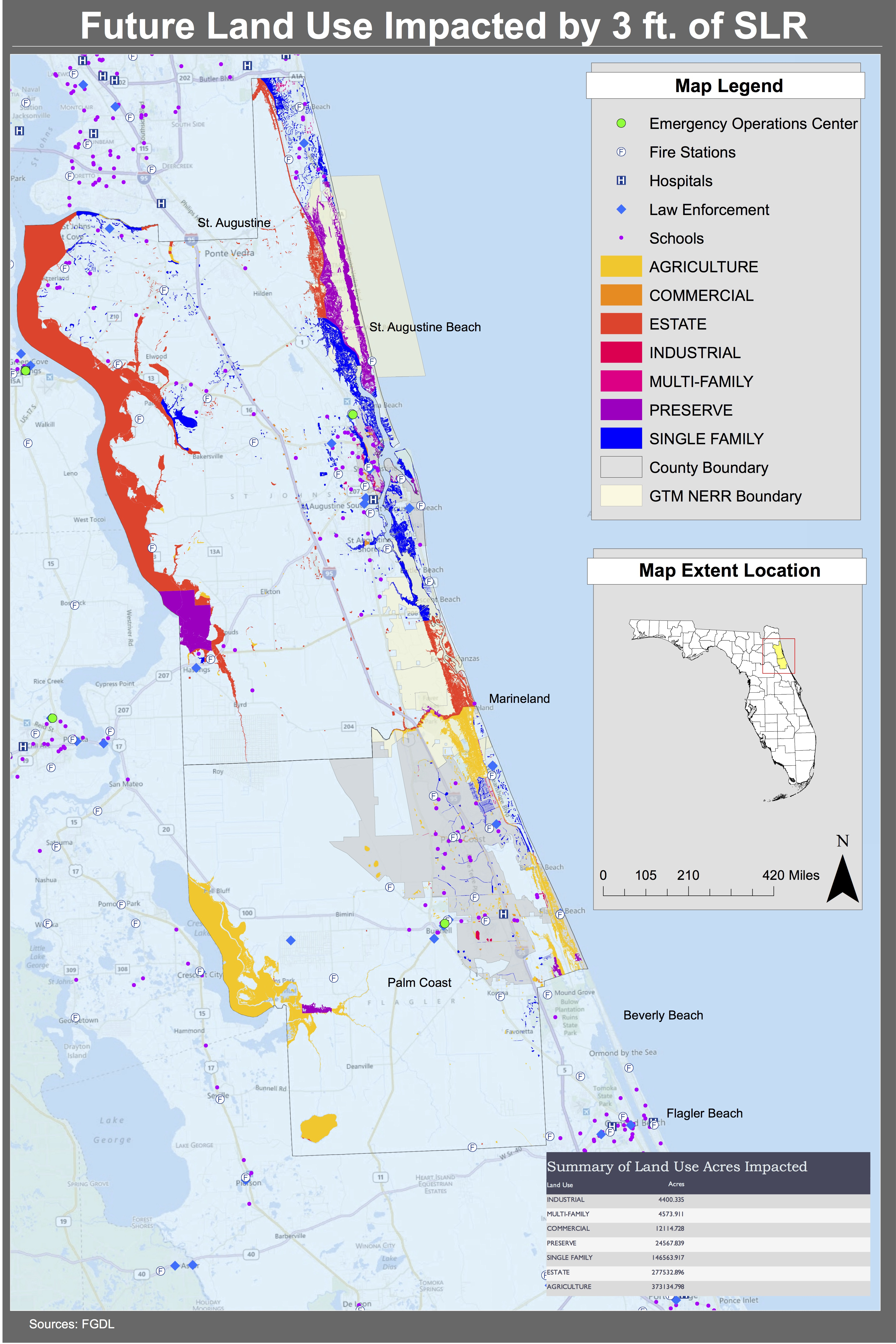 Maps | Planning For Sea Level Rise In The Matanzas Basin - Florida Land Elevation Map