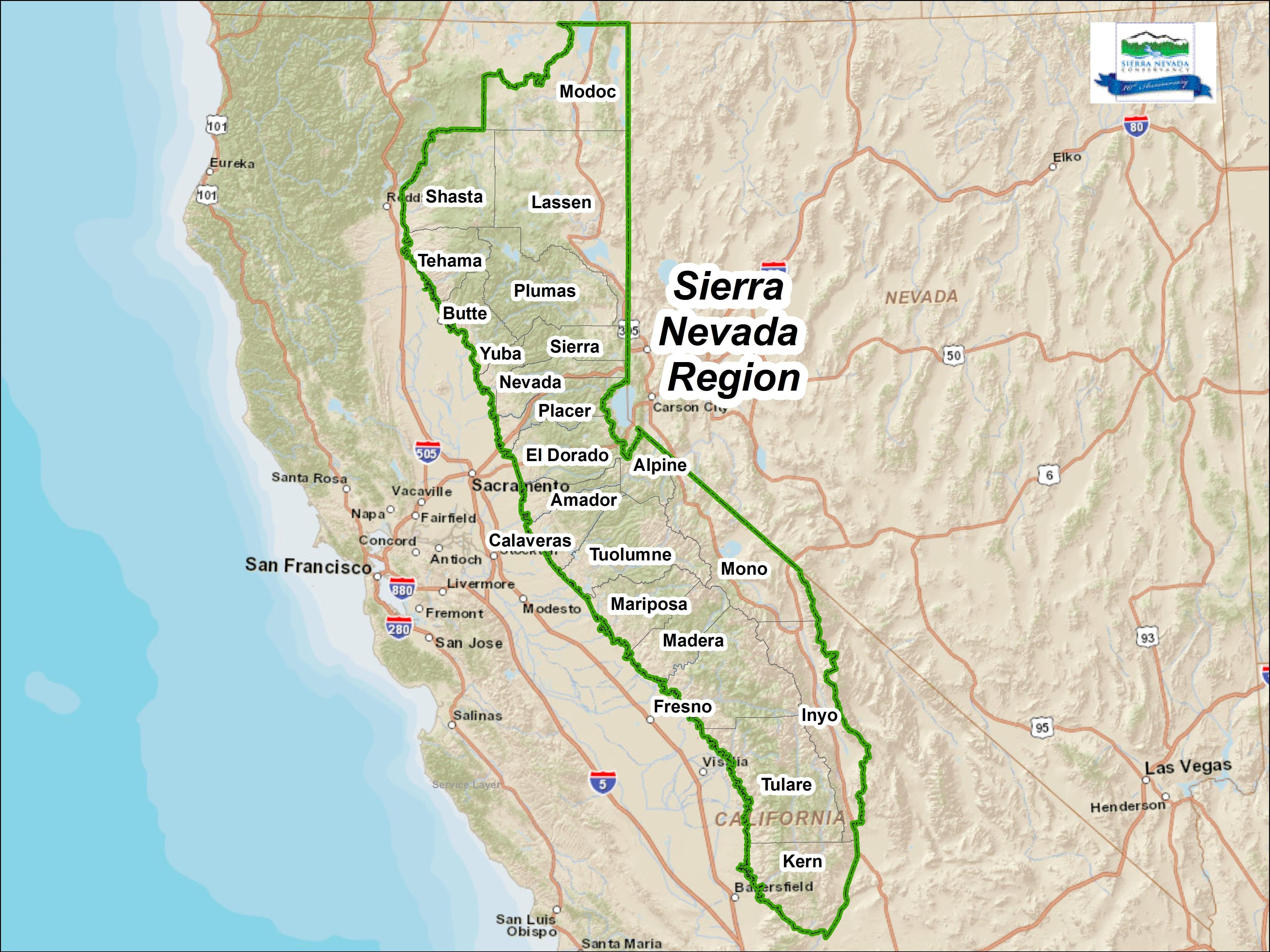 Maps – Sierranevada - Map Eastern Sierras California