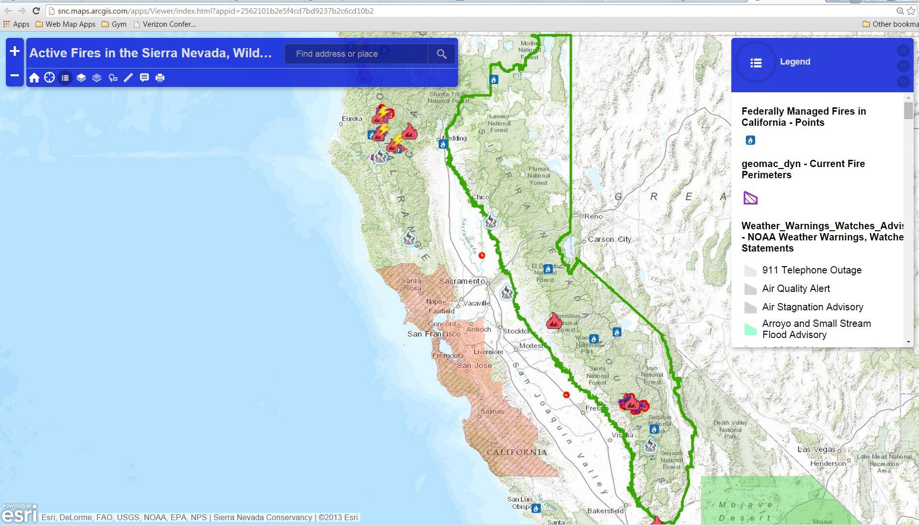 Maps – Sierranevada - Sierra California Map