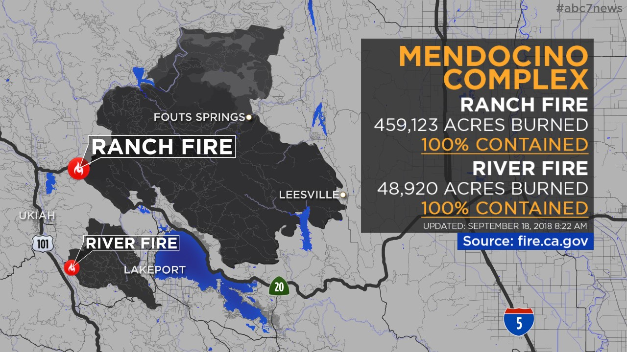 Maps: Wildfires Burning Across California | Abc7News - Map Of Current Forest Fires In California