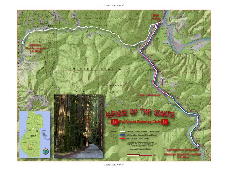Avenue Of The Giants California Map