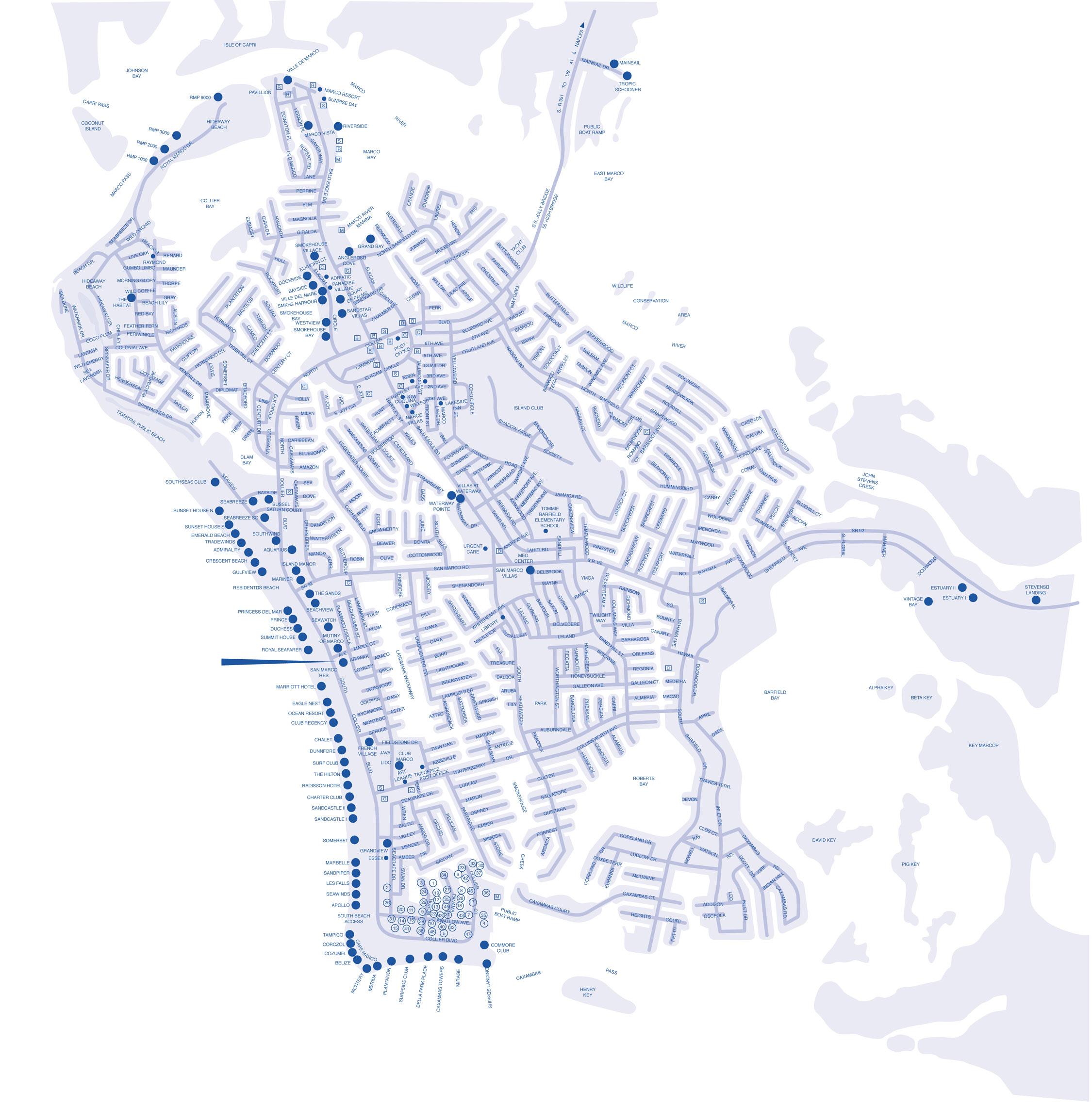 Marco Island Hotel Map - Marco Island Florida • Mappery - San Marcos Island Florida Map