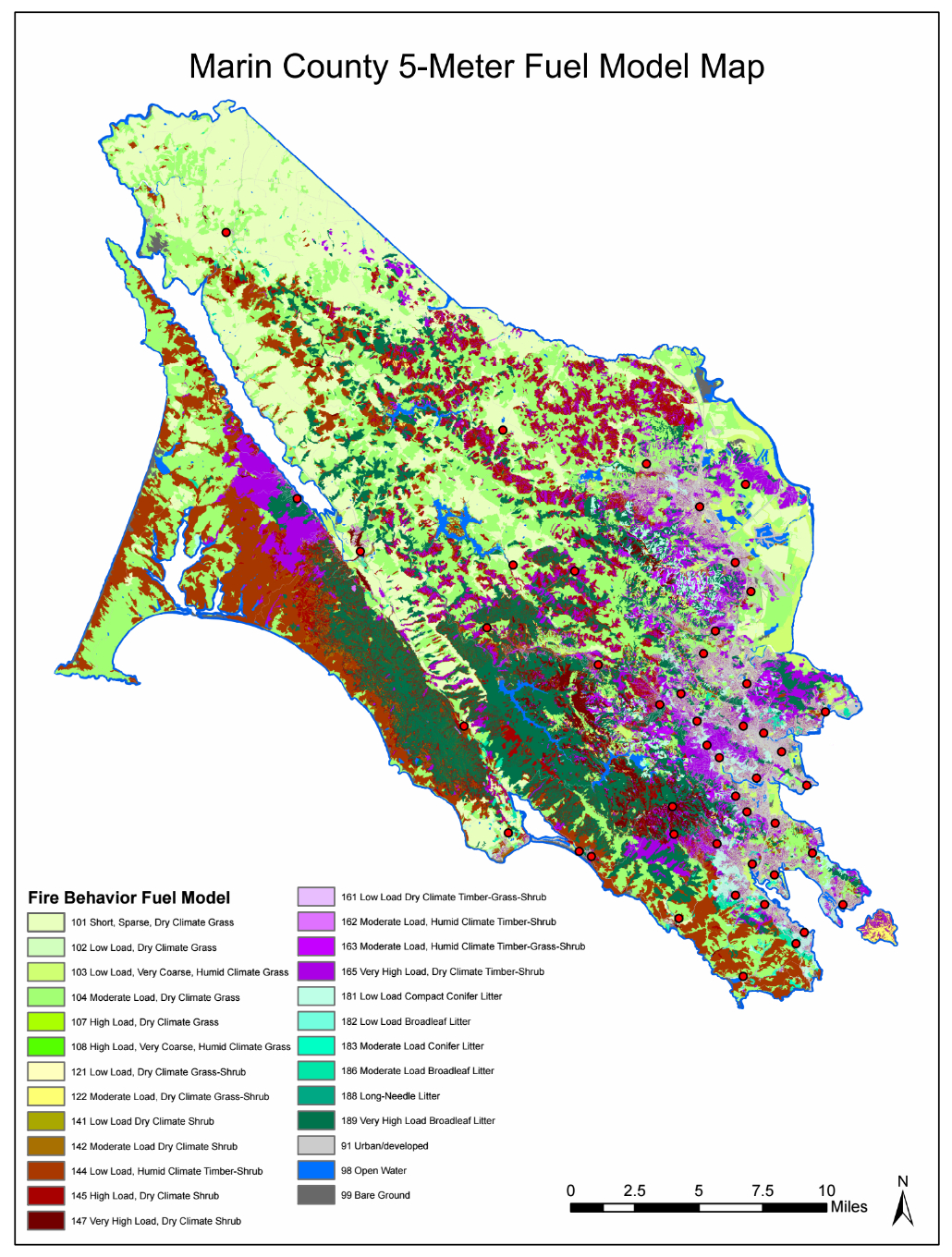 Marin County Vegetation Fuel Model, Wildfire Modeling - Marin County California Map