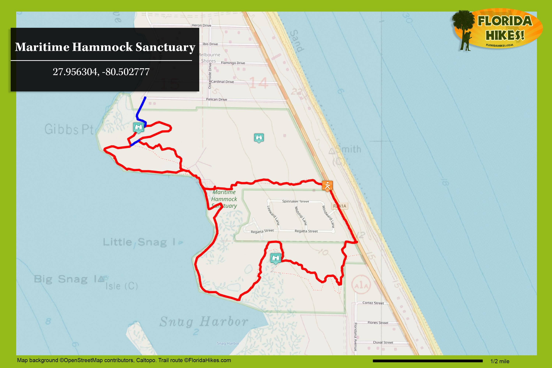 Maritime Hammock Sanctuary | Florida Hikes! - Sebastian Florida Map