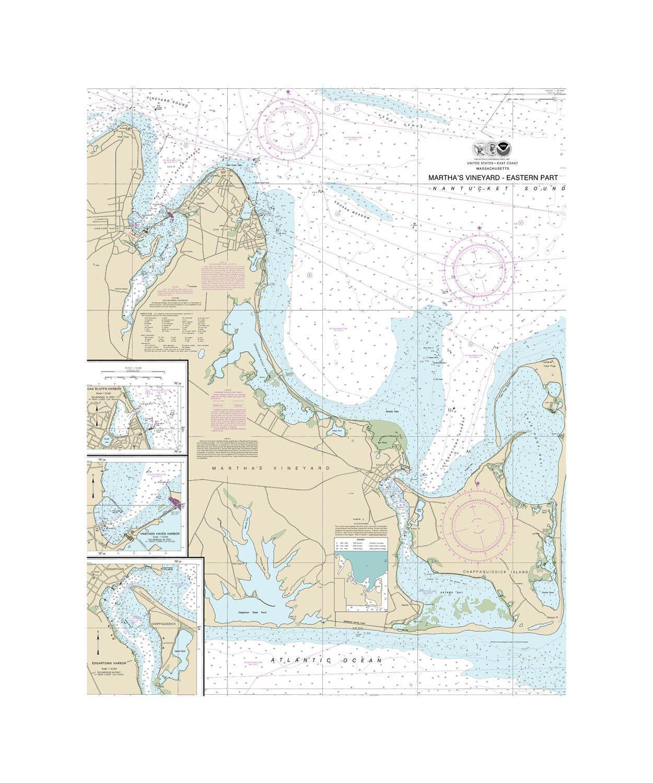 Martha's Vineyard Nautical Chart Sailcloth Print | Coastal Decor - Martha's Vineyard Map Printable
