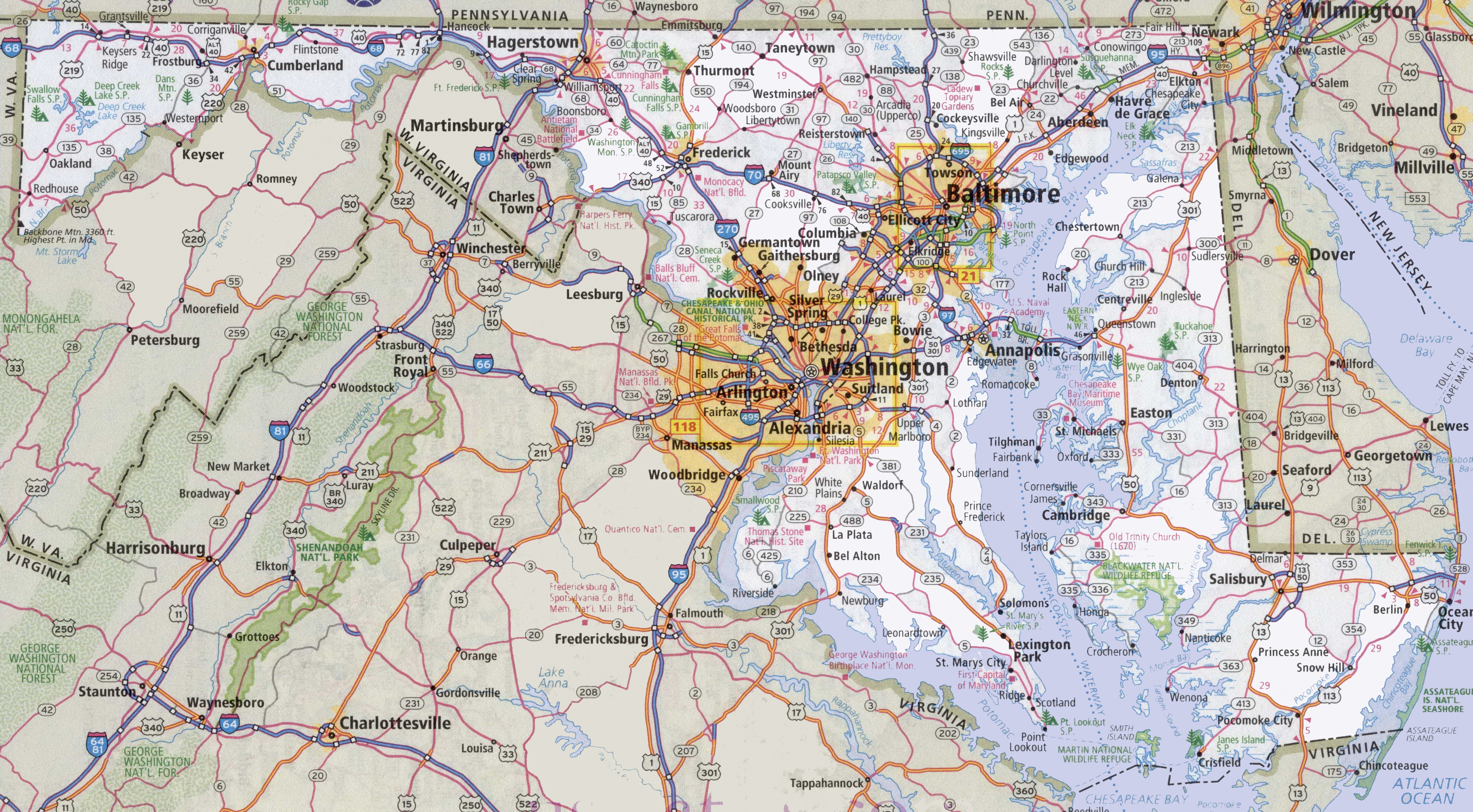 Maryland Road Map - Printable Map Of Annapolis Md