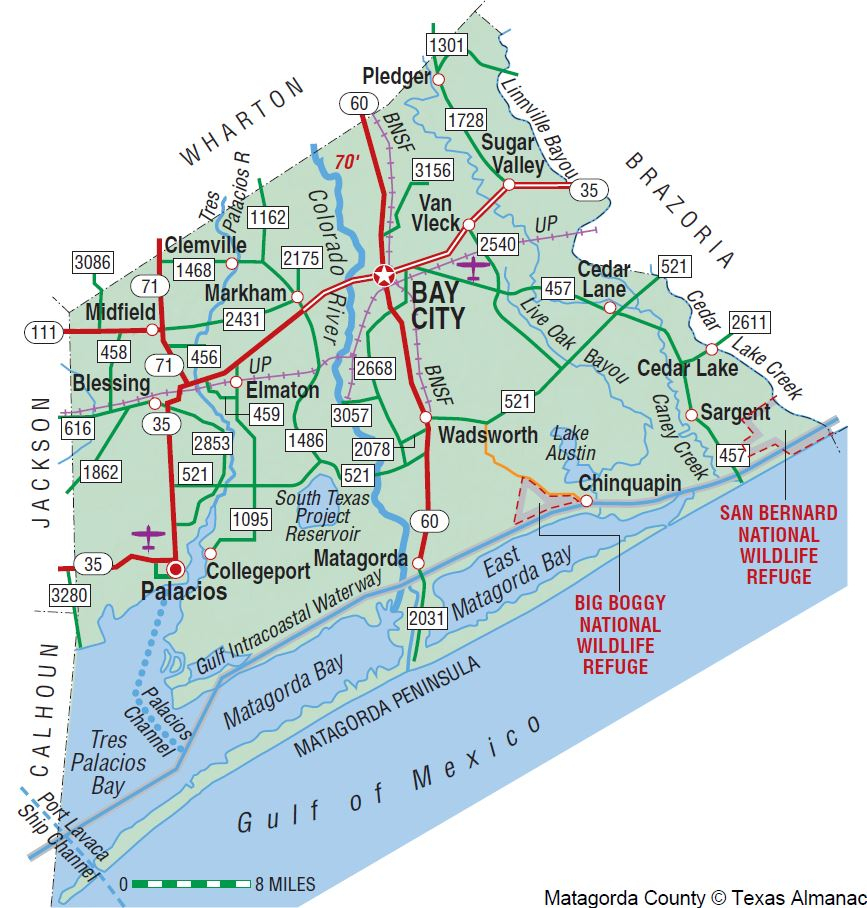Matagorda County   The Handbook Of Texas Online  Texas State - Map Of Matagorda County Texas