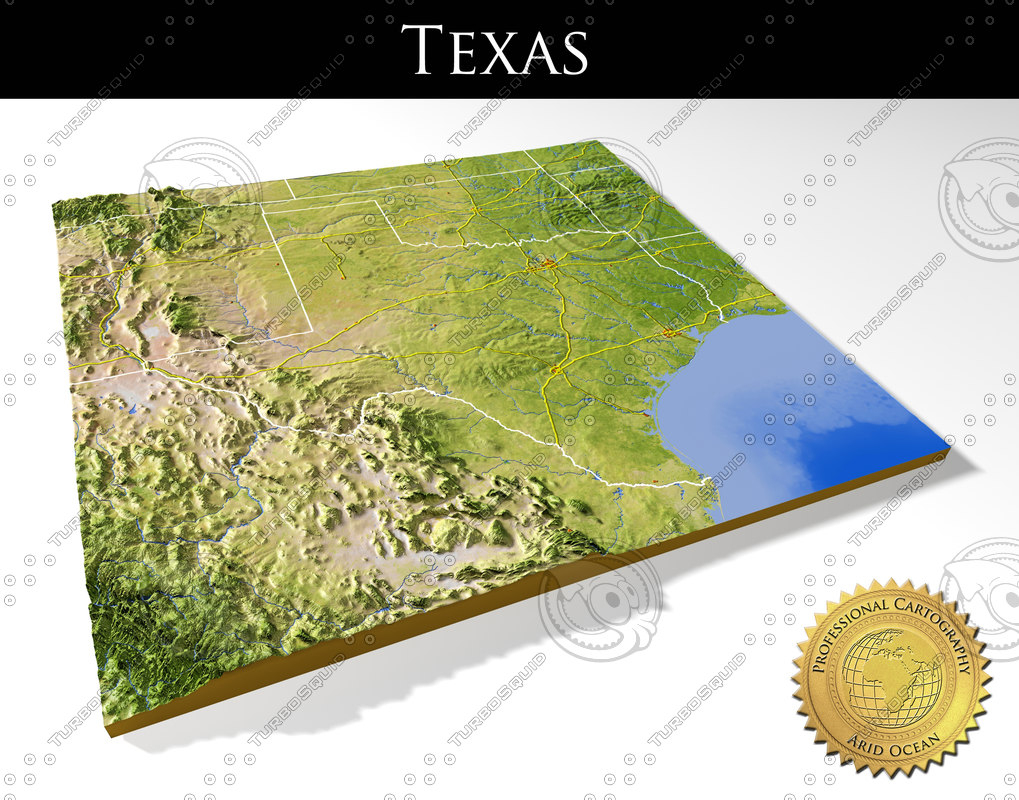 Max Relief Texas - 3D Topographic Map Of Texas