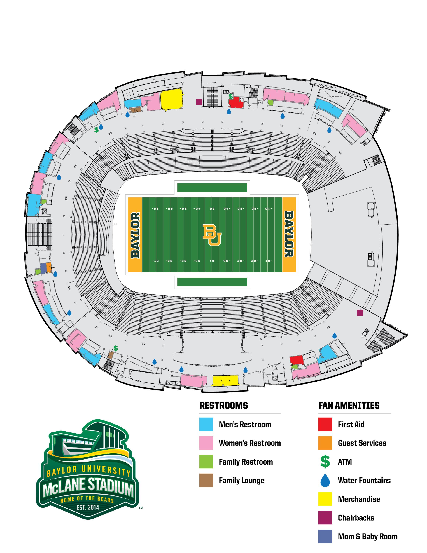 Mclane Stadium - Baylor University Athletics - University Of Texas Football Stadium Map