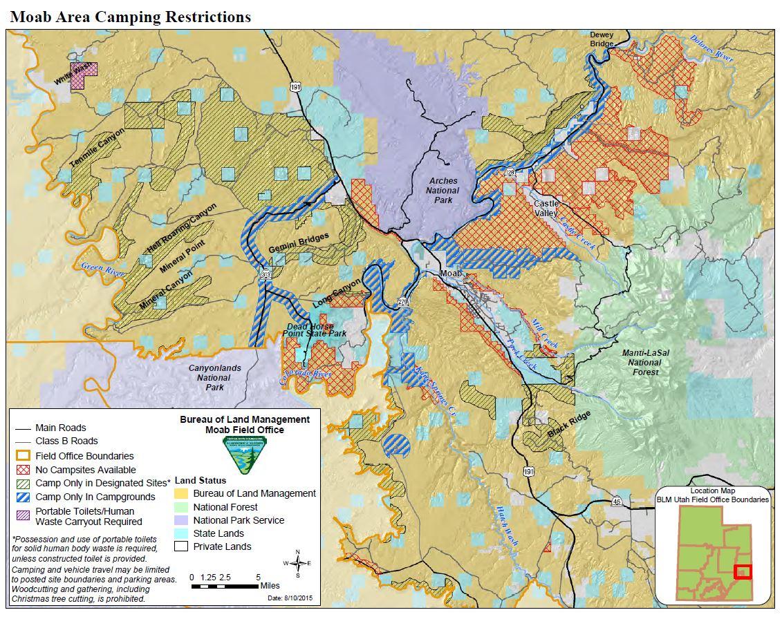 Media: Public Room: Utah: Moab Camping Restrictions   Bureau Of Land - Blm Land California Shooting Map