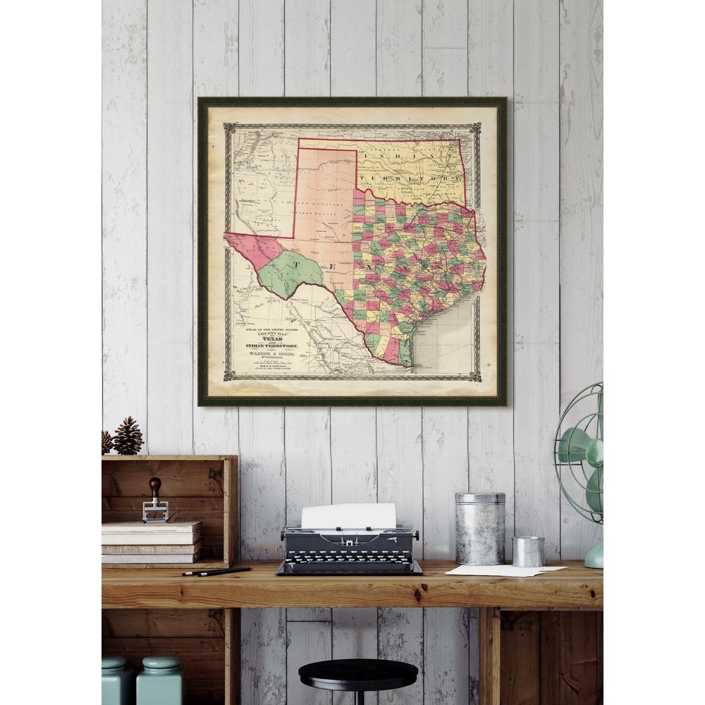 "Melissa Van Hise 32 In. X 32 In. ""vintage Map Of Texas"" Framed - Vintage Texas Map Framed"