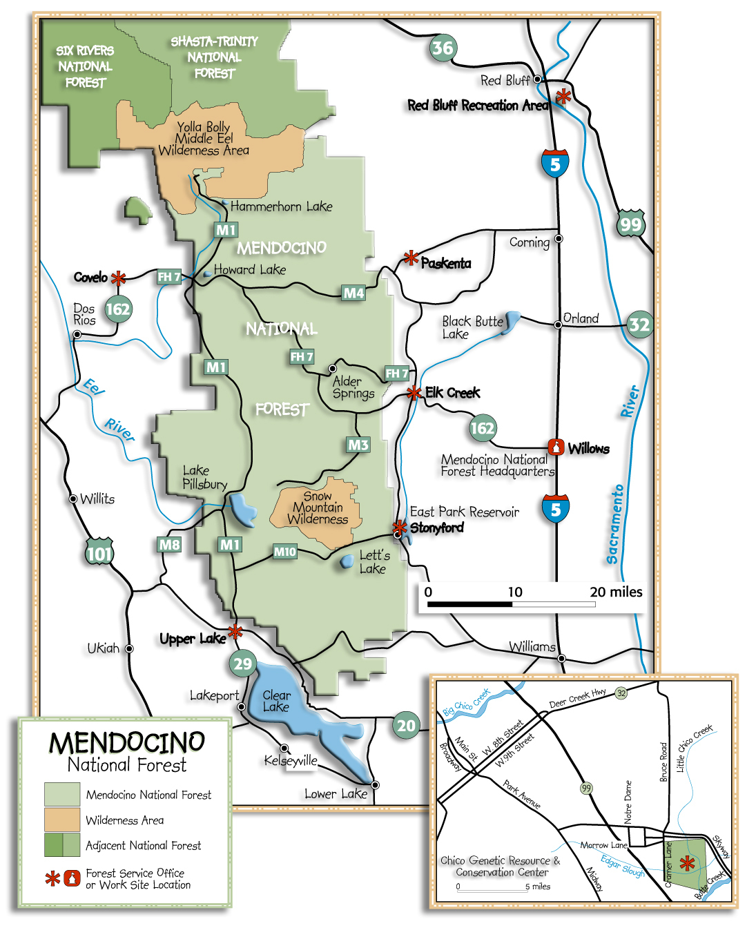 Mendocino National Forest - Maps & Publications - California Wilderness Map