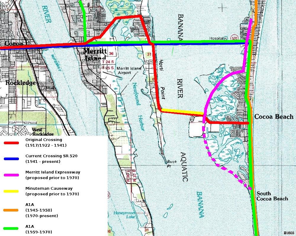 Merritt Island Causeway - Wikipedia - Where Is Cocoa Beach Florida On The Map