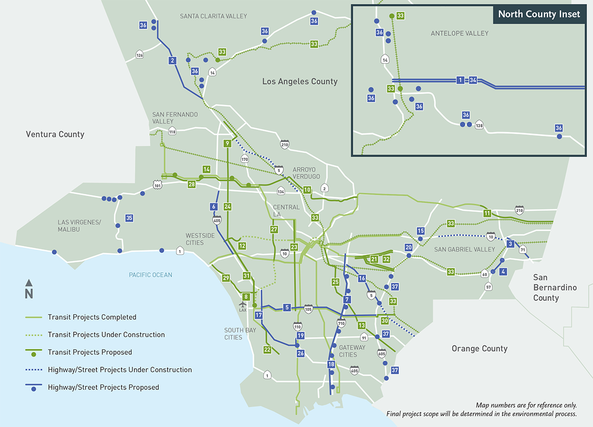 Metro Measure M Projects Map - California Metro Map