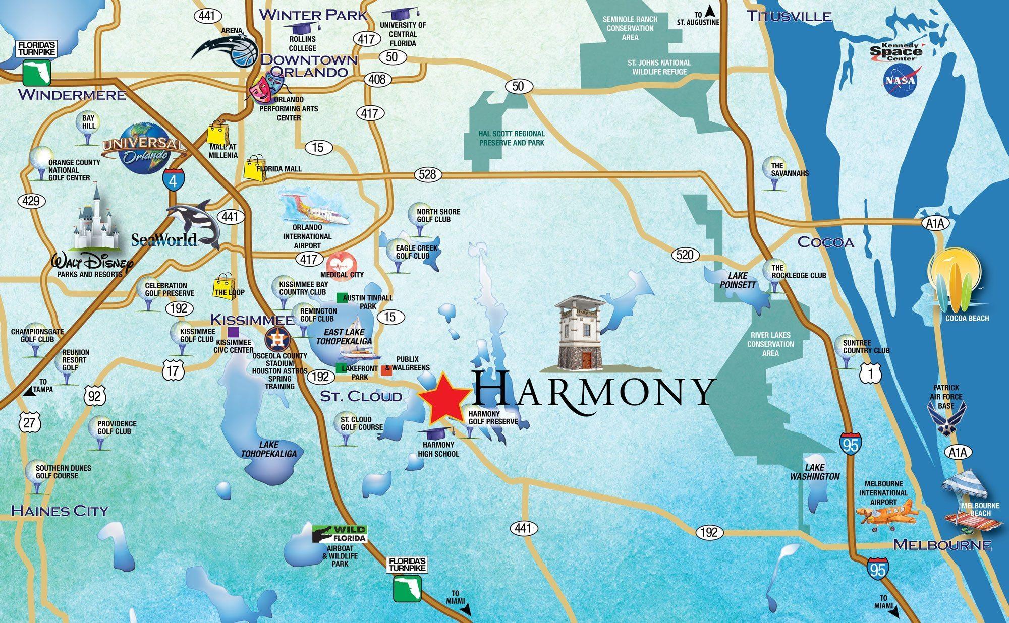 Metro-Orlando-Map-2 - Harmony, Fl - Harmony Florida Map