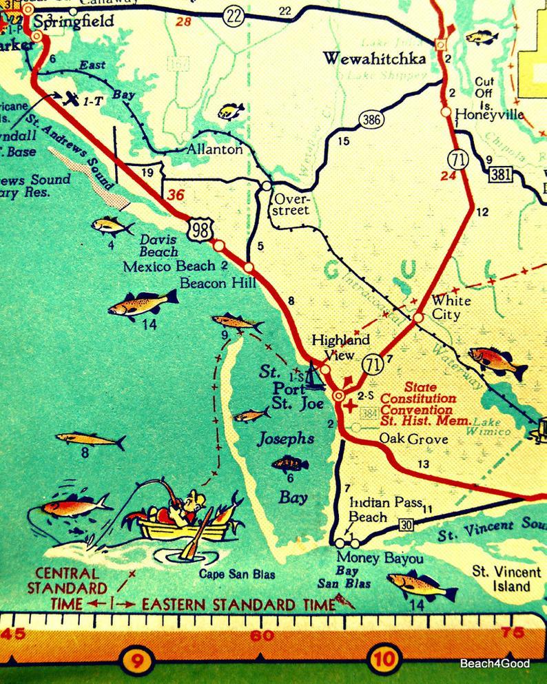 Mexico Beach Map Art Print Florida Map Art Port St Joe Map | Etsy - Florida Map Art