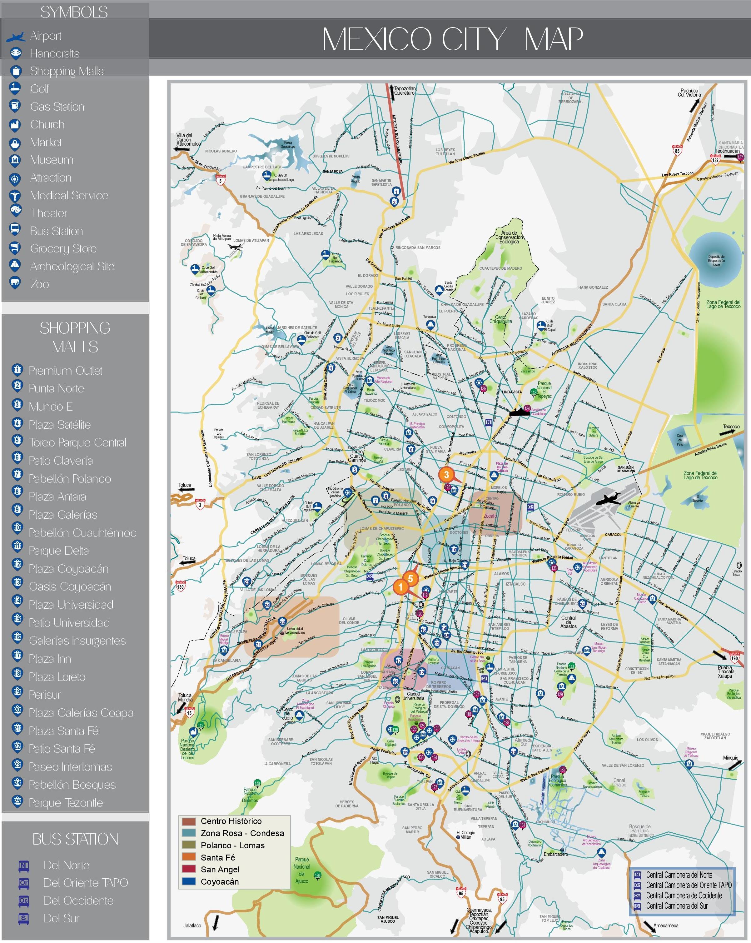 Mexico City Maps | Mexico | Maps Of City Of Mexico - Printable Map Of Mexico City