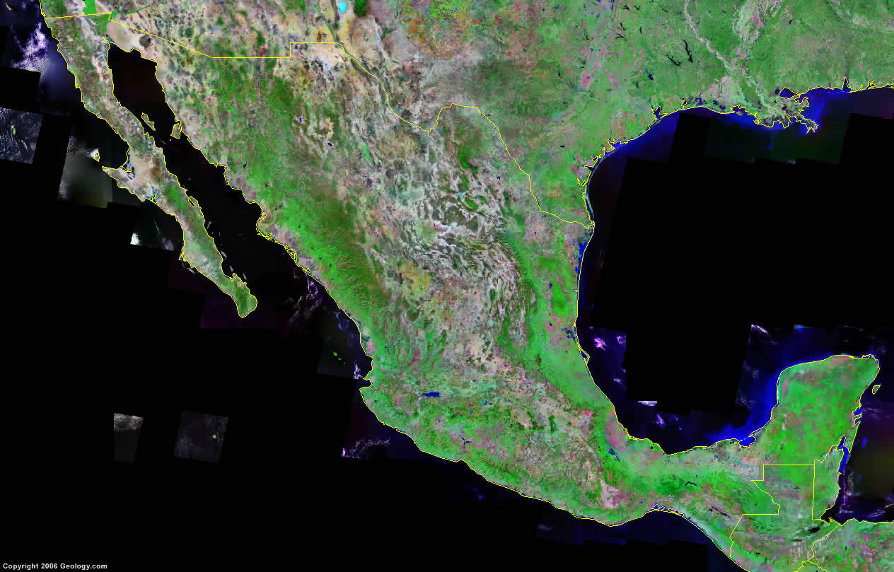 Mexico Map And Satellite Image - Google Satellite Map Of Texas