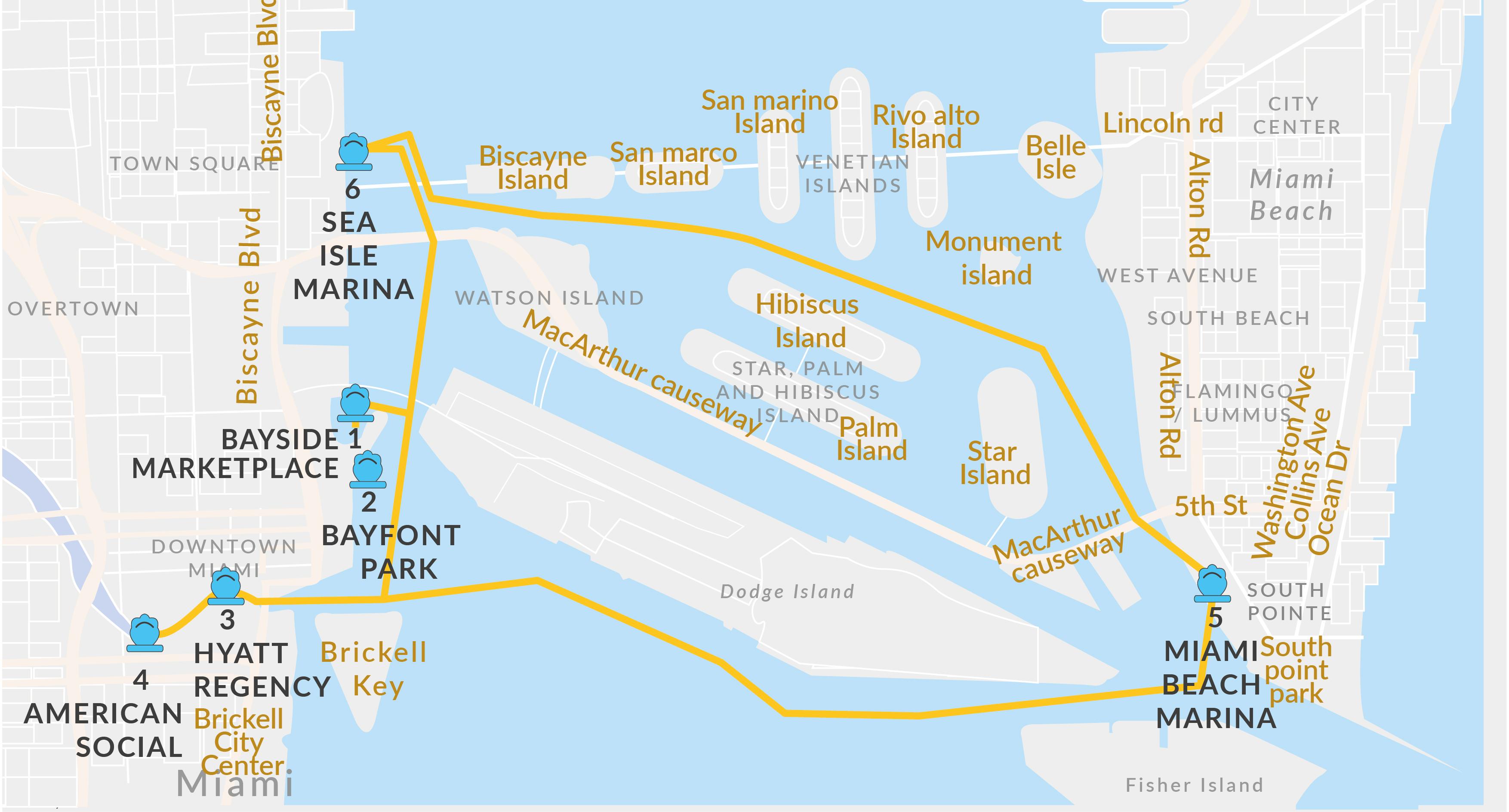 Miami Beach Boat Rides | Miami Water Taxi Schedule | Ferry Service - Miami Florida Cruise Port Map