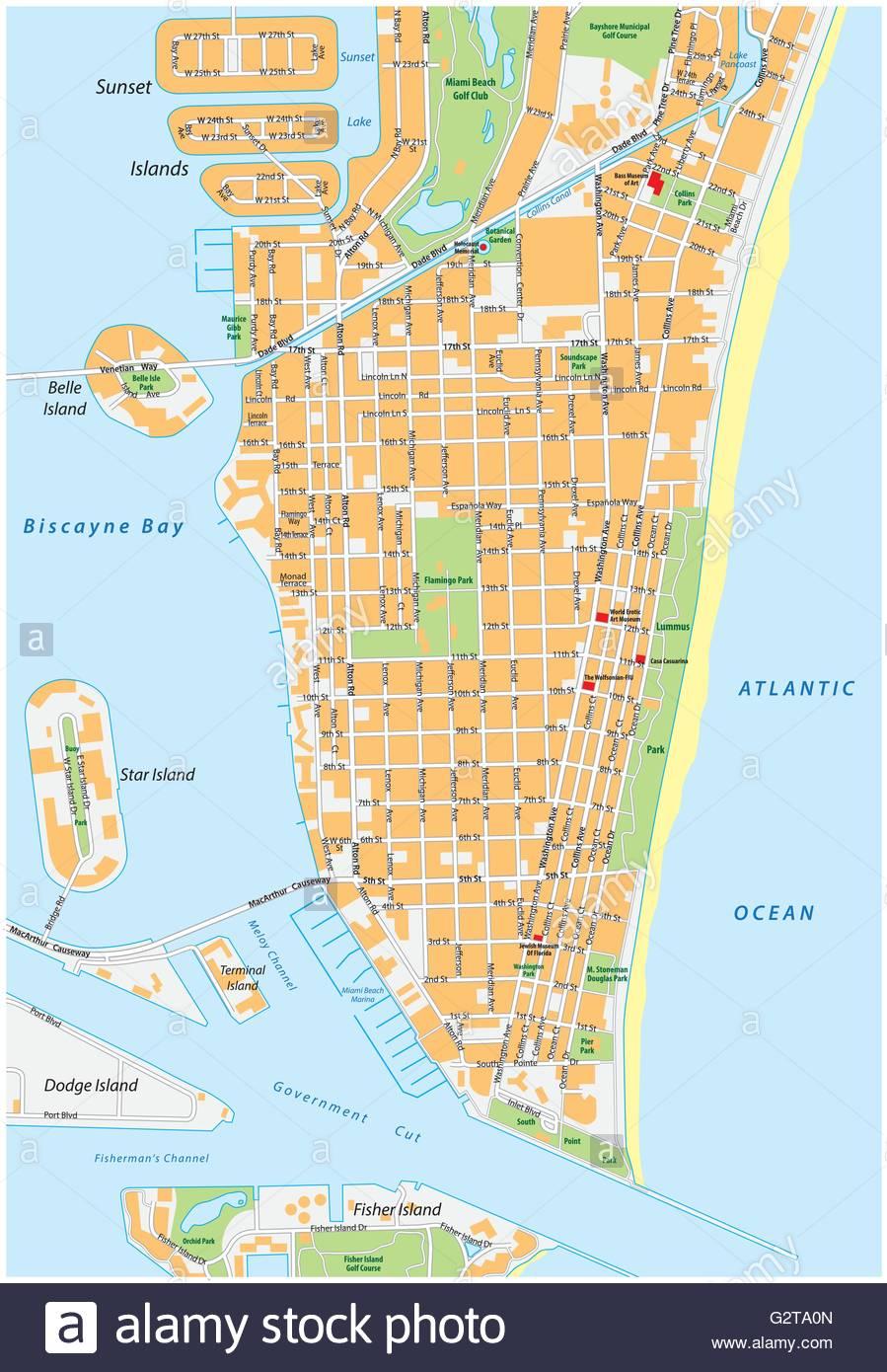 Miami Beach Detailed Vector Street Map With Names, Florida Stock - Florida Street Map