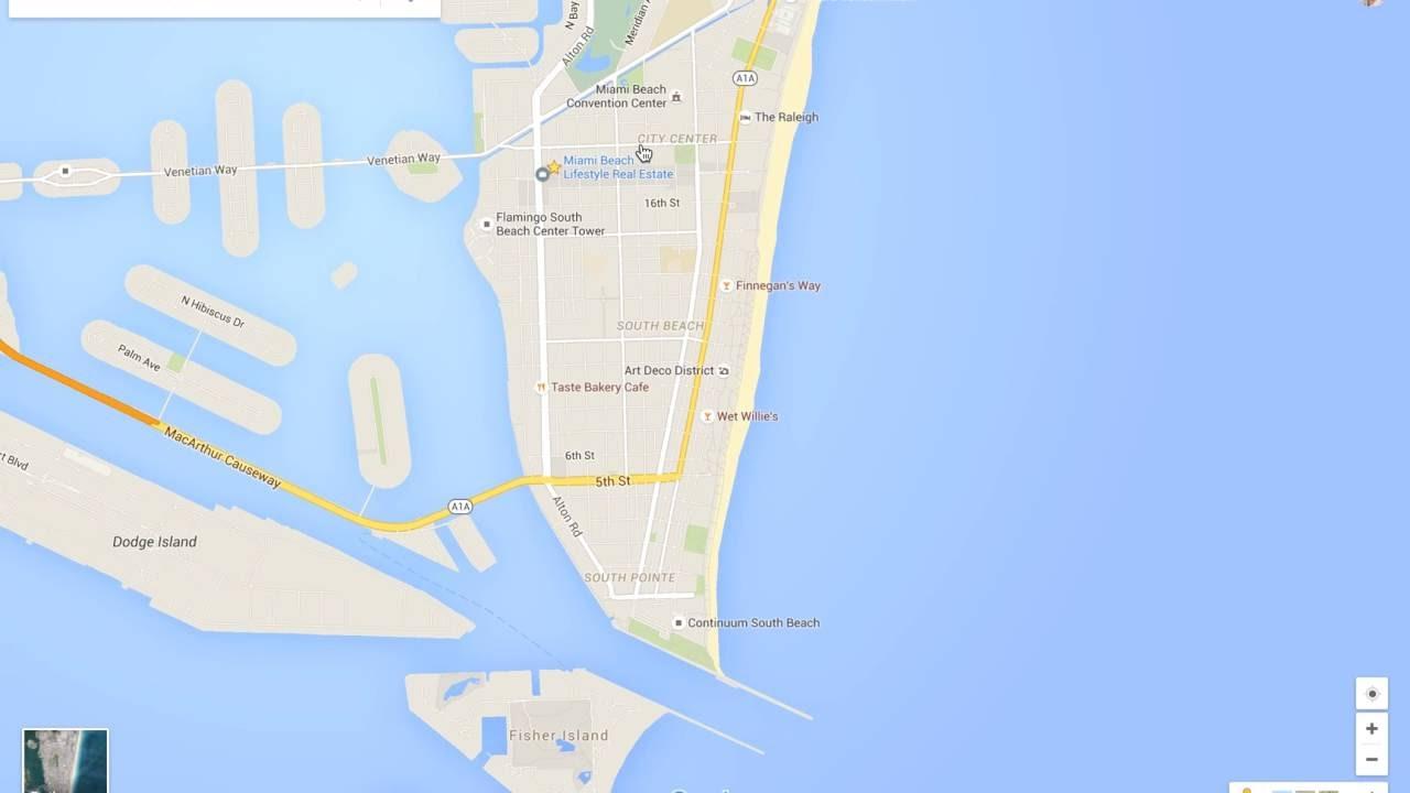 Miami Beach Neighborhood Tour & Google Maps Walkthru - Youtube - Google Map Miami Florida