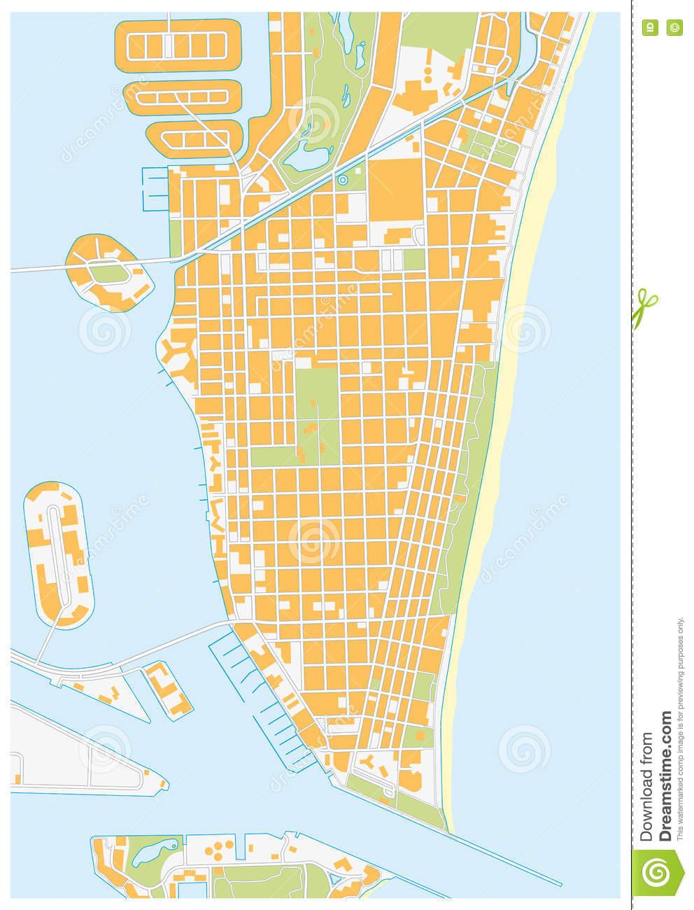 Miami-Beach Street Map, Florida Stock Illustration - Illustration Of - South Beach Florida Map