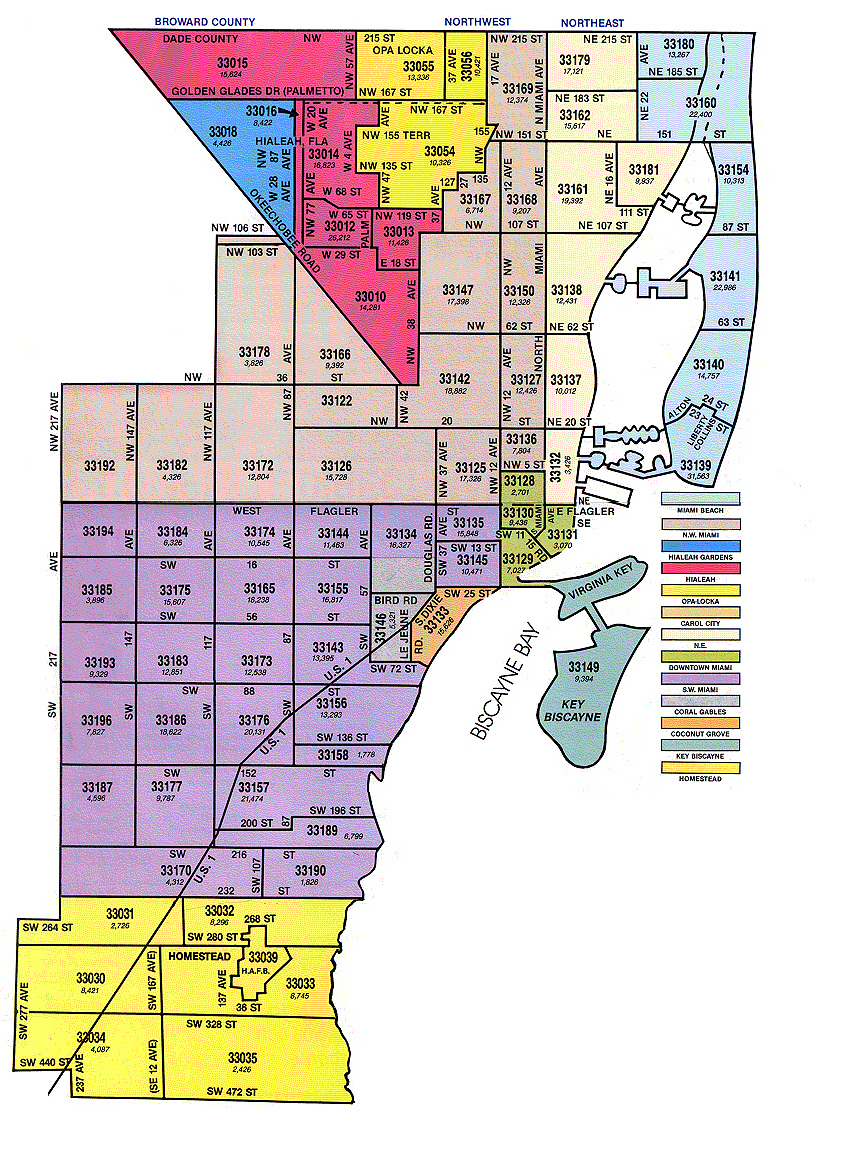 Miami-Dade Zip Code Map - Map Of Dade County Florida