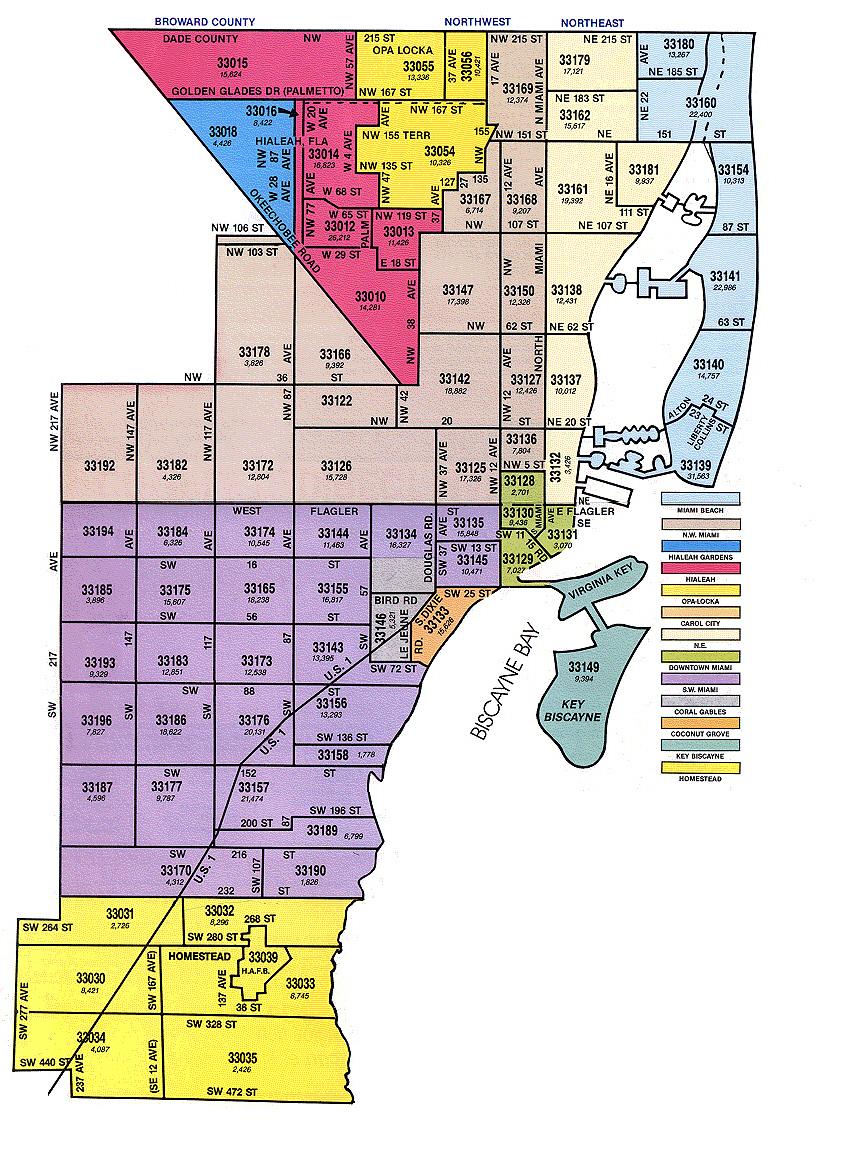 Miami-Dade Zip Code Map - Mls Listings Florida Map