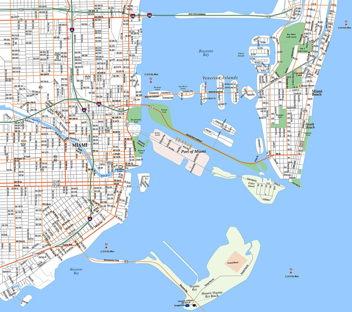 Miami, Downtown - Aaccessmaps - Street Map Of Downtown Miami Florida