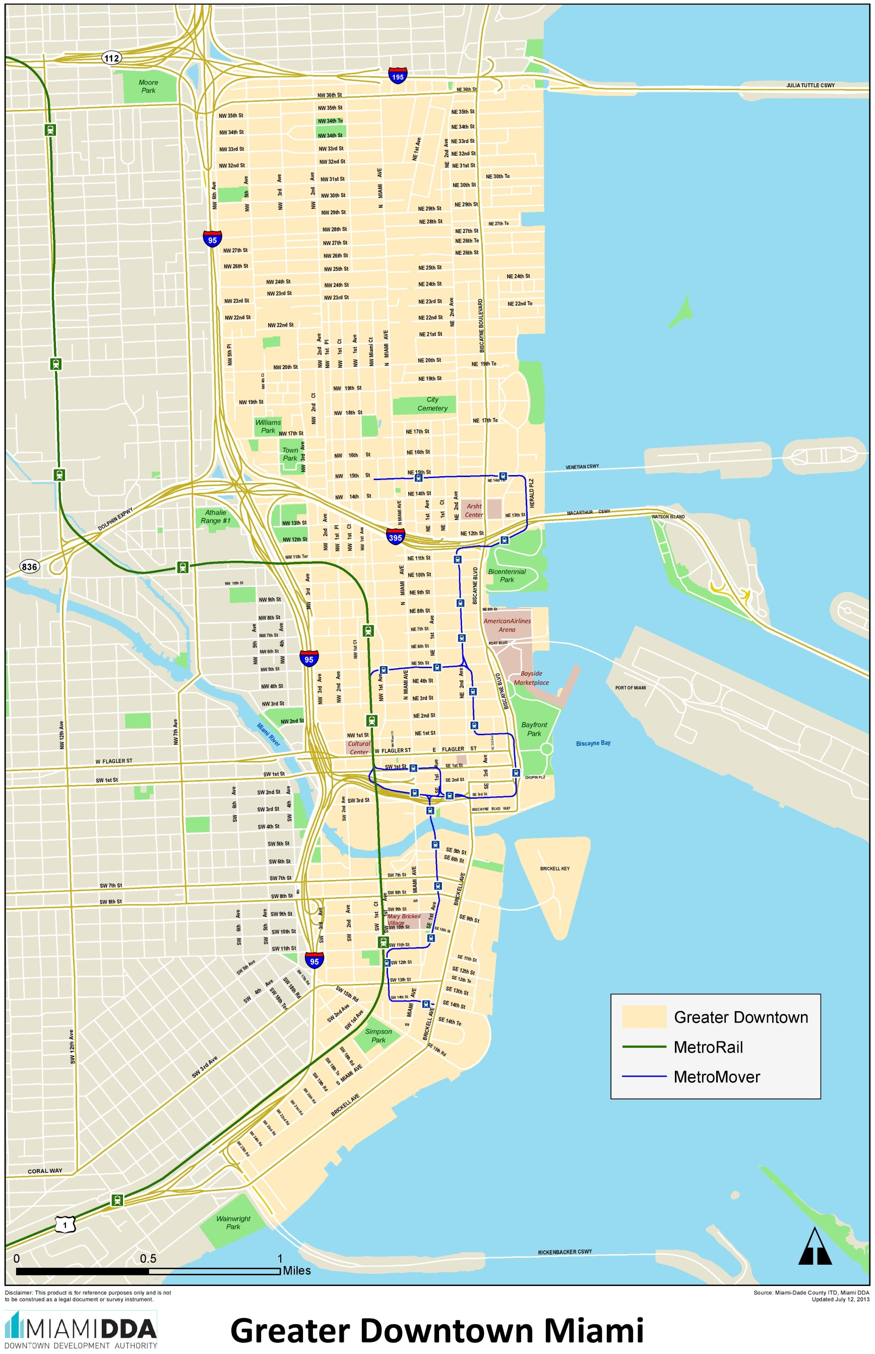 Miami Downtown Map - Street Map Of Downtown Miami Florida