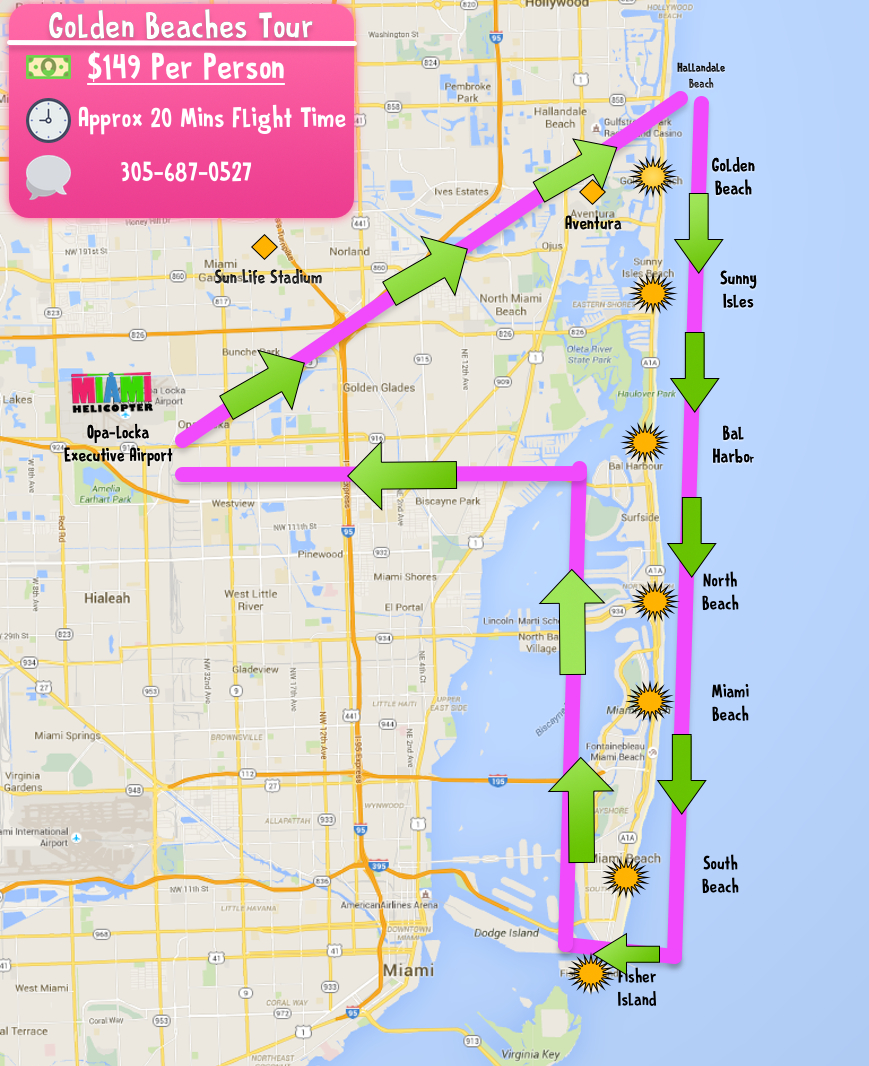 Miami, Fl Helicopter Tours & Charters | Miamihelicopter - Sunny Isles Beach Florida Map