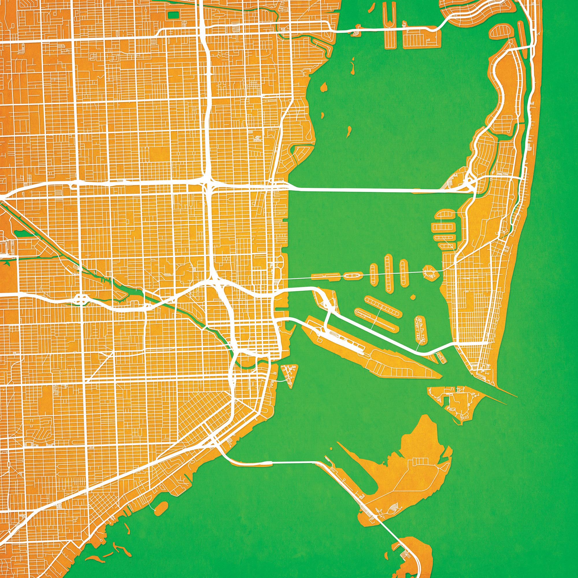 Miami, Florida Map Art - City Prints - Florida Map Art