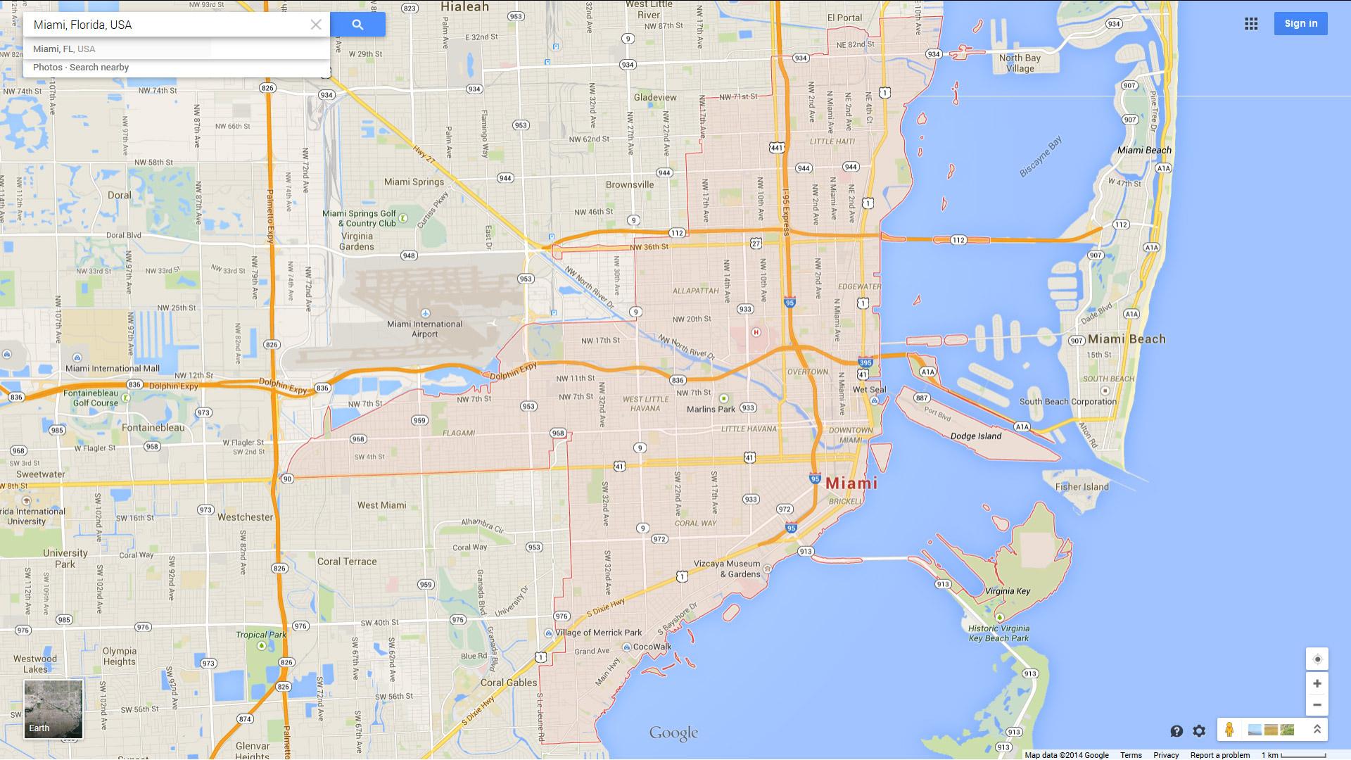 Miami, Florida Map - Street Map Of Miami Florida