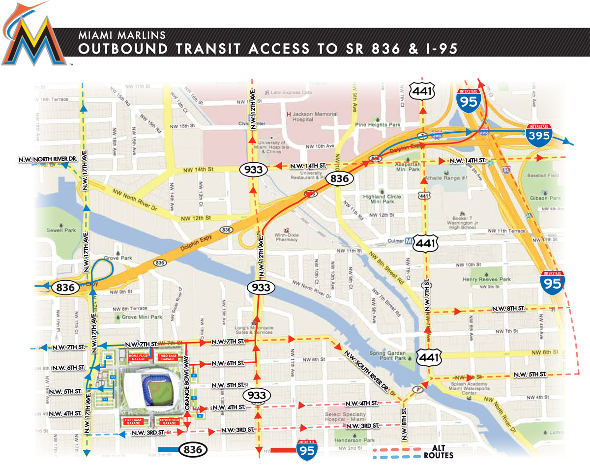 Miami Marlins Ballpark Directions   Miami Marlins - Florida Map Directions