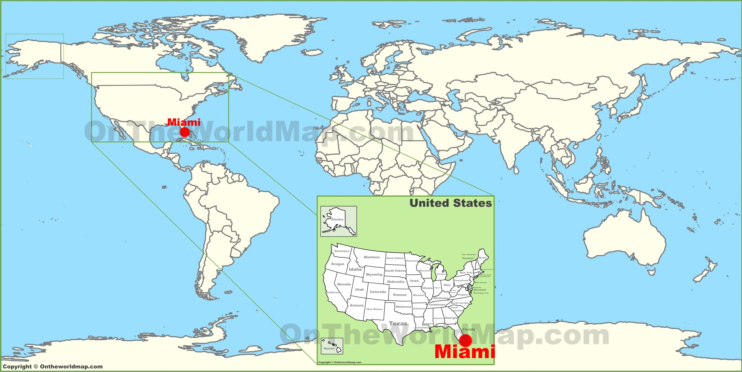Miami On The World Map - The Map Of Miami Florida