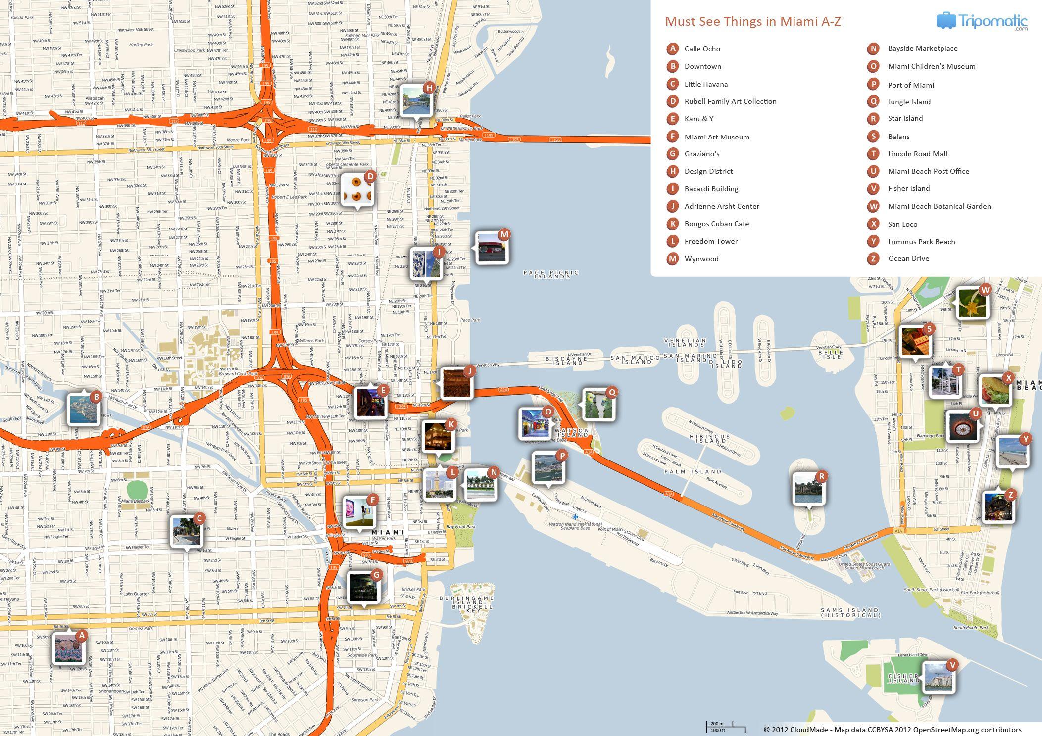 Miami Printable Tourist Map | Free Tourist Maps ✈ | Pinterest - Map Of Miami Florida And Surrounding Areas