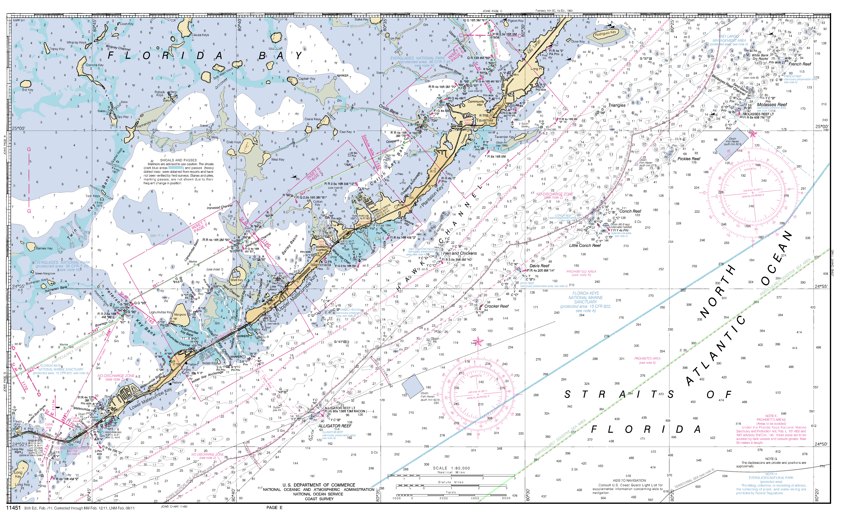 Miami To Marathon And Florida Bay Page E Nautical Chart - Νοαα - Nautical Maps Florida