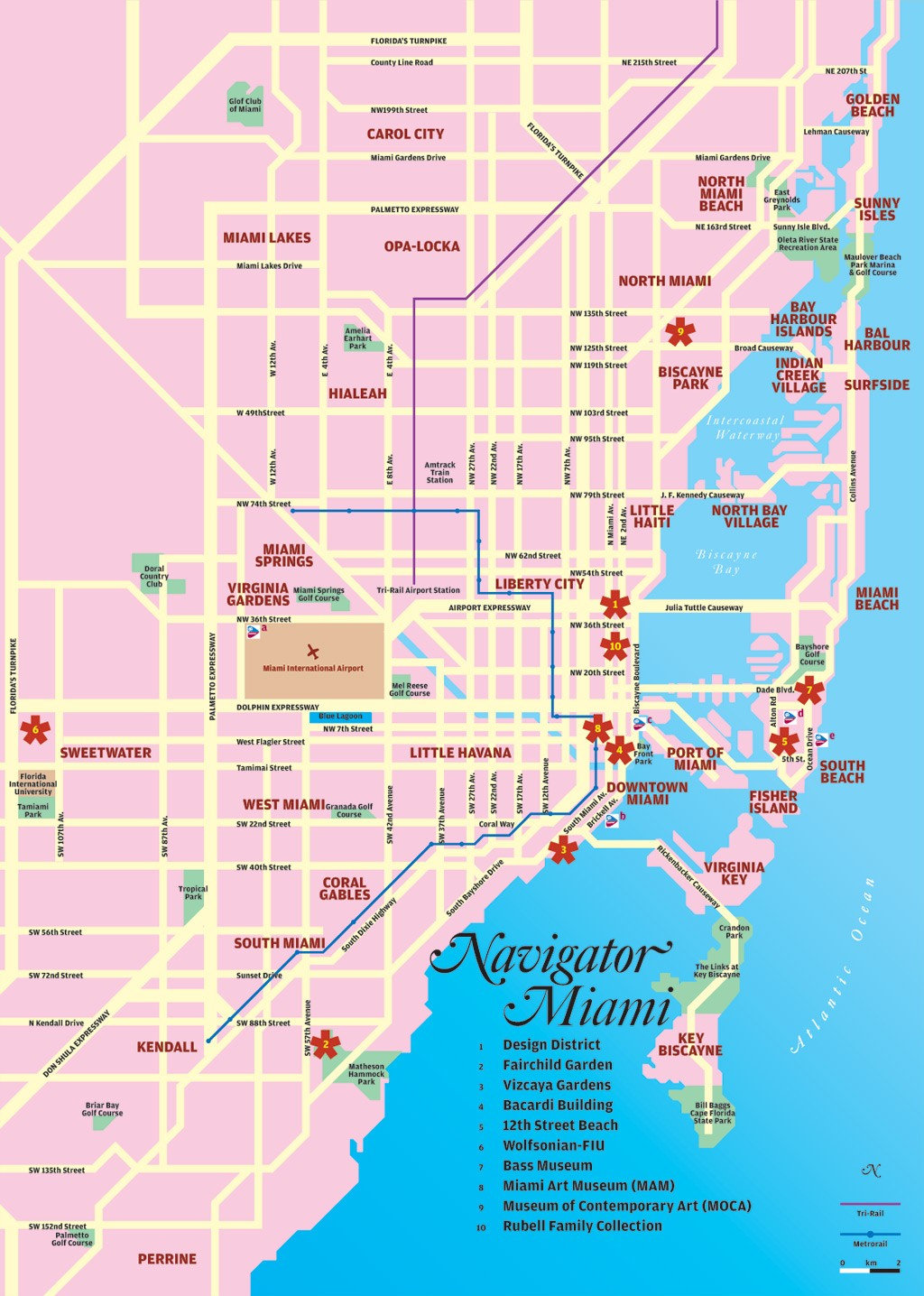 Miami Tourist Map - Miami Florida • Mappery - Florida Tourist Map
