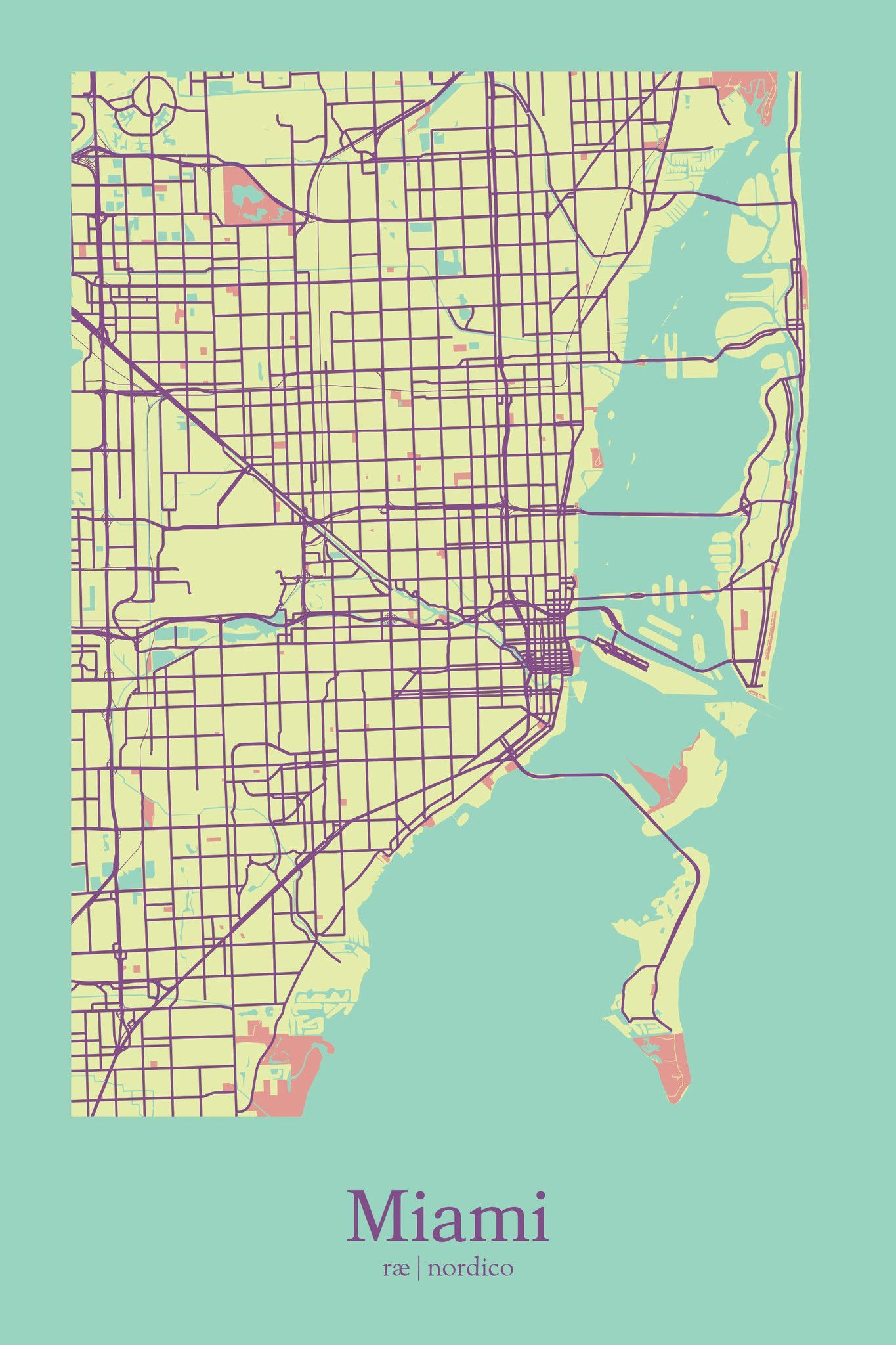 Miami, Usa Map Printrae Nordico #map #miami #florida | City Maps - Miami City Map Printable