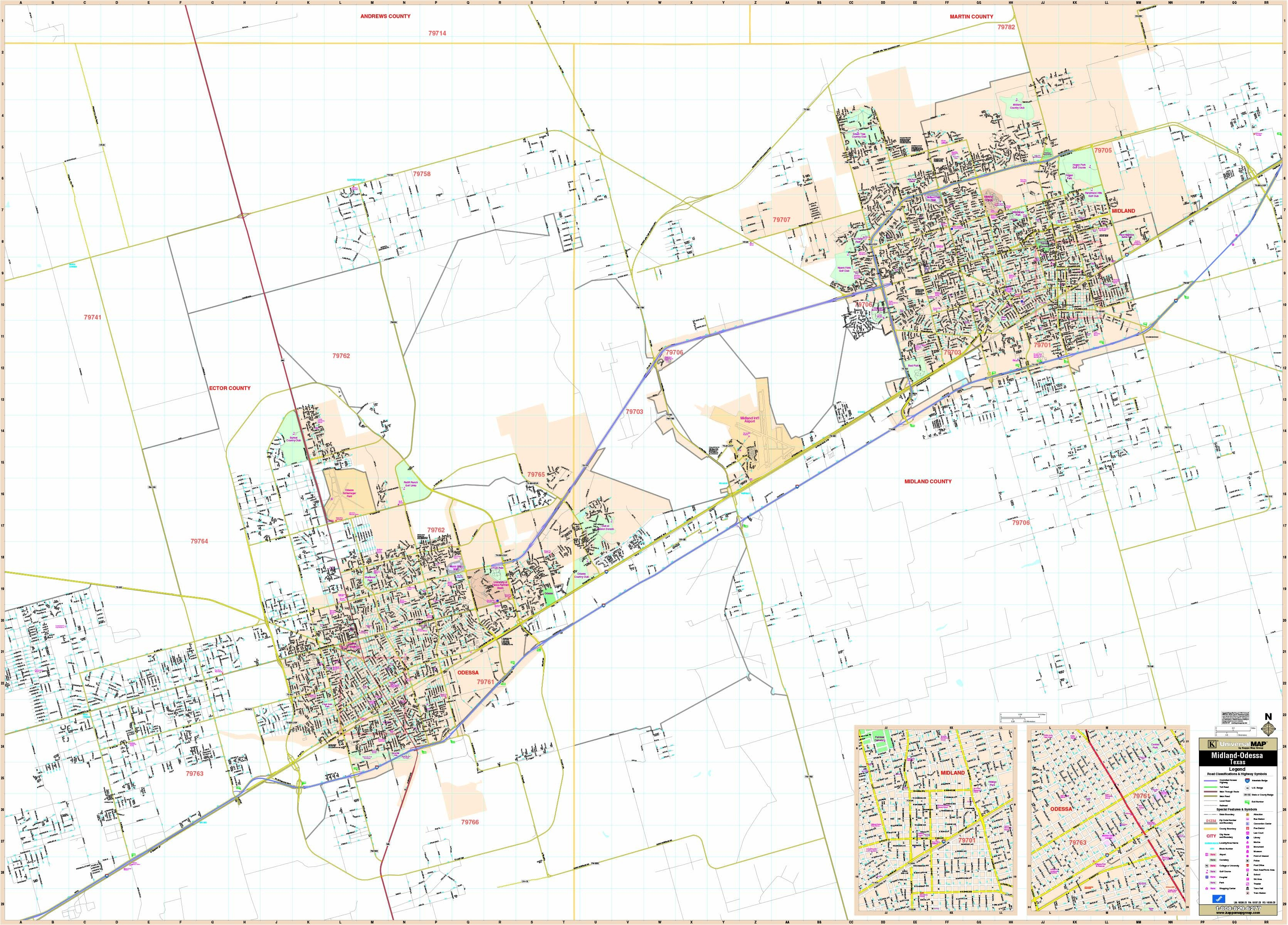 Midland & Odessa, Tx Wall Map - Maps - Map Of Midland Texas And Surrounding Areas