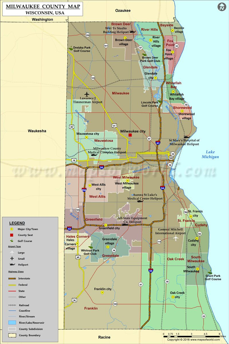 Milwaukee County Map For Free Download | #maps | Pinterest - Printable Map Of Downtown Madison Wi