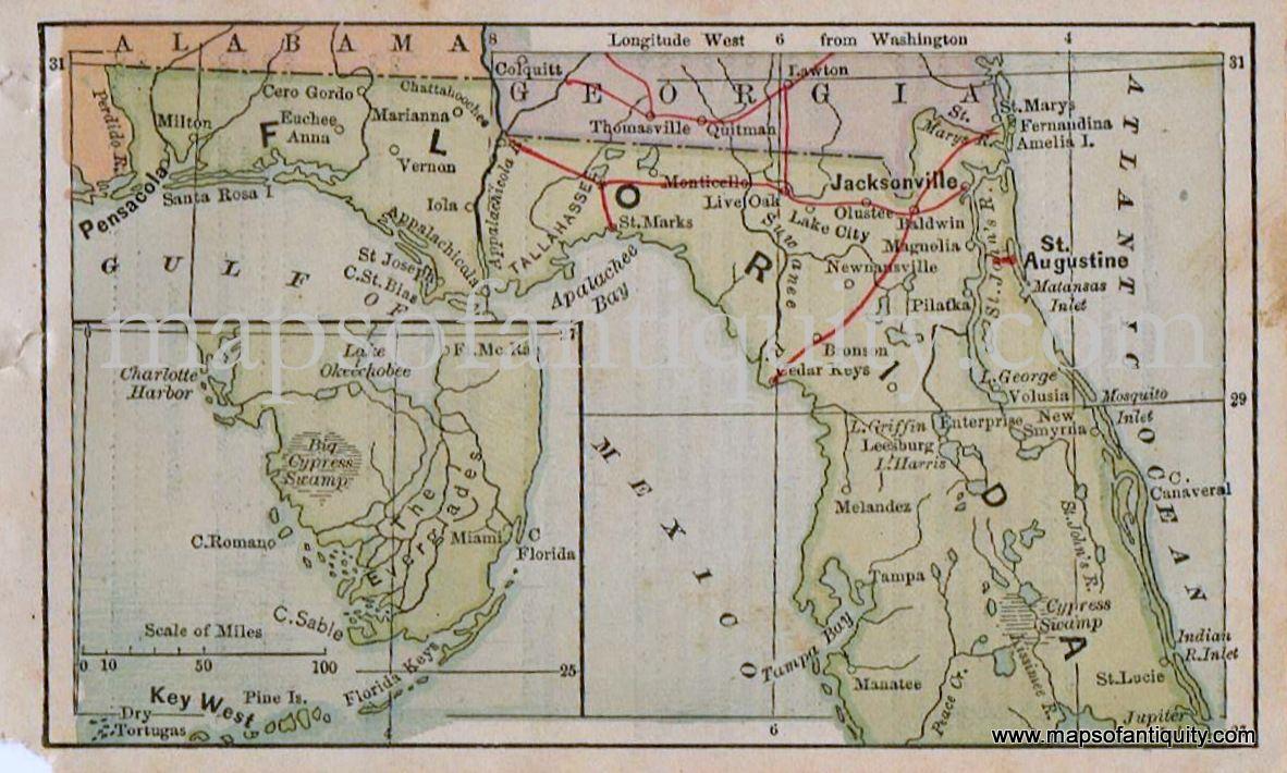 Miniature Map Of Florida - Antique Maps And Charts – Original - Old Florida Maps Prints