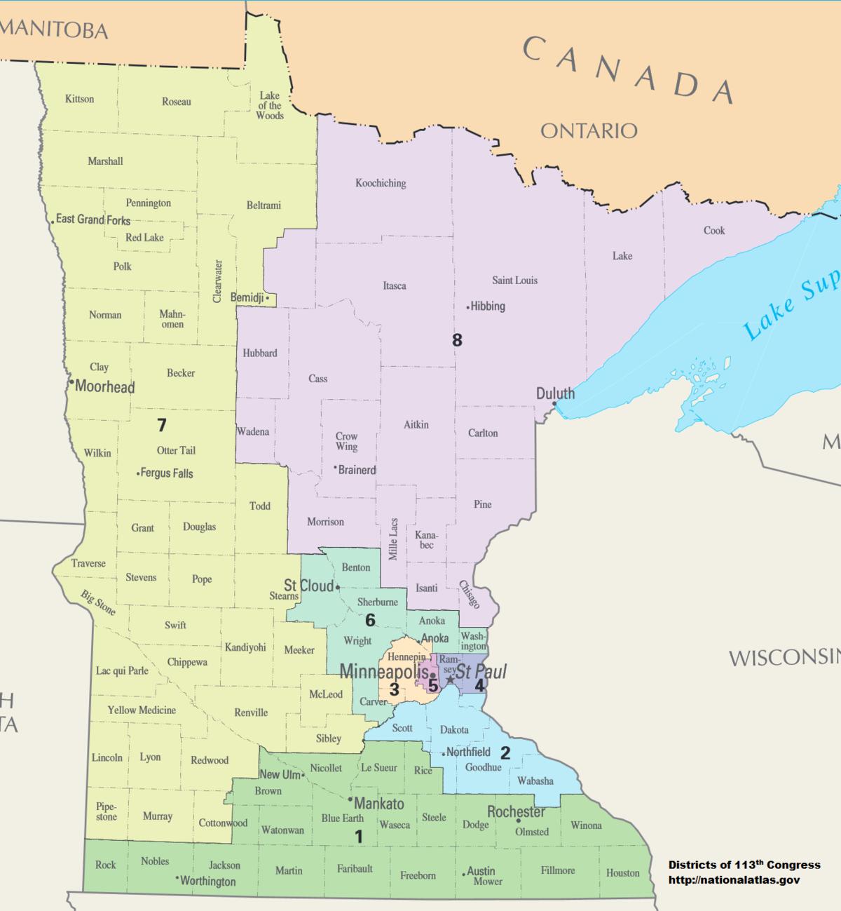 Minnesota's Congressional Districts - Wikipedia - Printable Lake Minnetonka Map