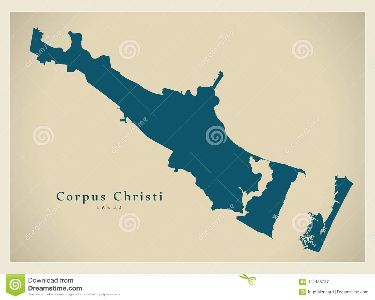 Modern City Map - Corpus Christi Texas City Of The Usa Stock Vector - City Map Of Corpus Christi Texas