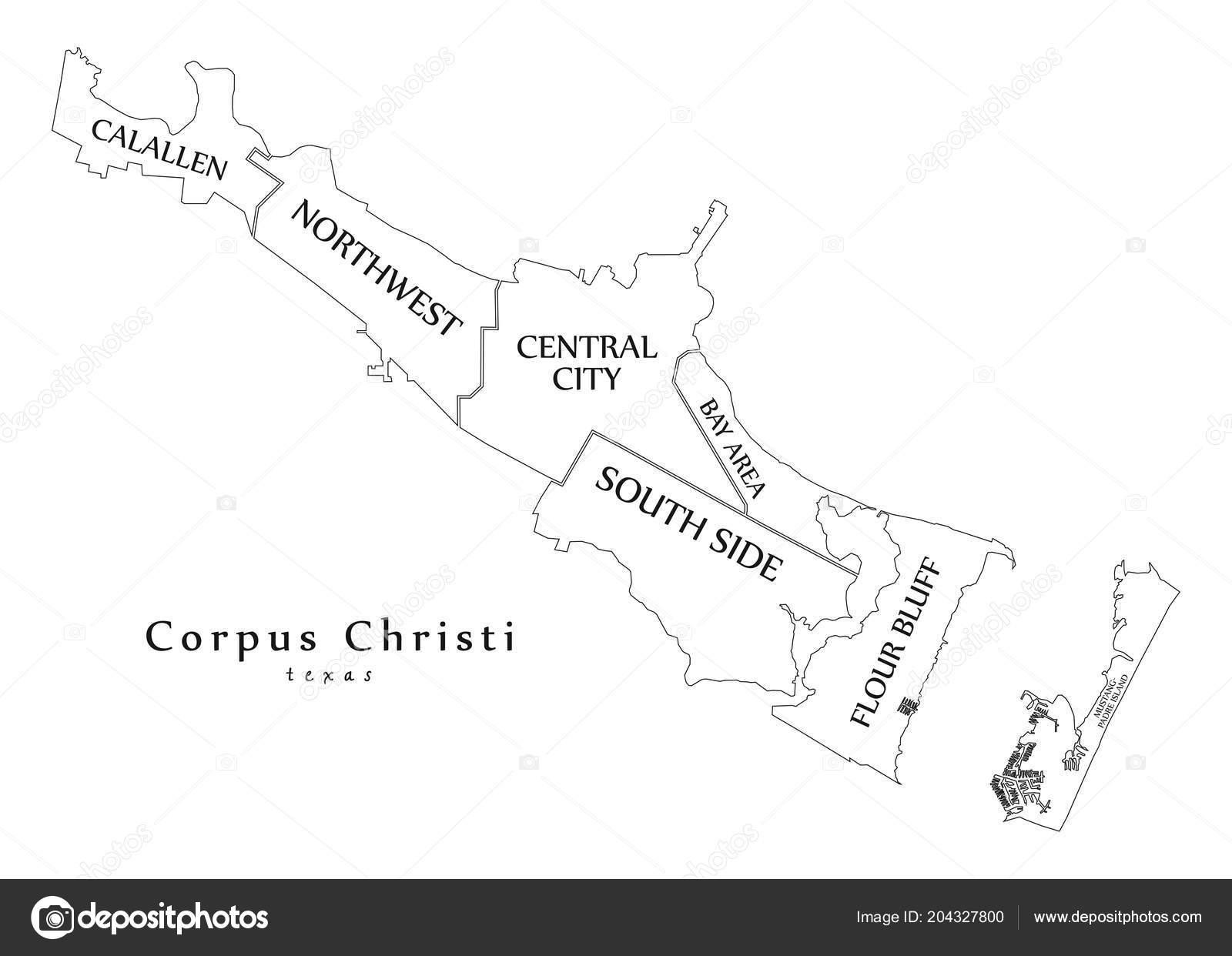 Modern City Map Corpus Christi Texas City Usa Neighborhoods Titles - City Map Of Corpus Christi Texas