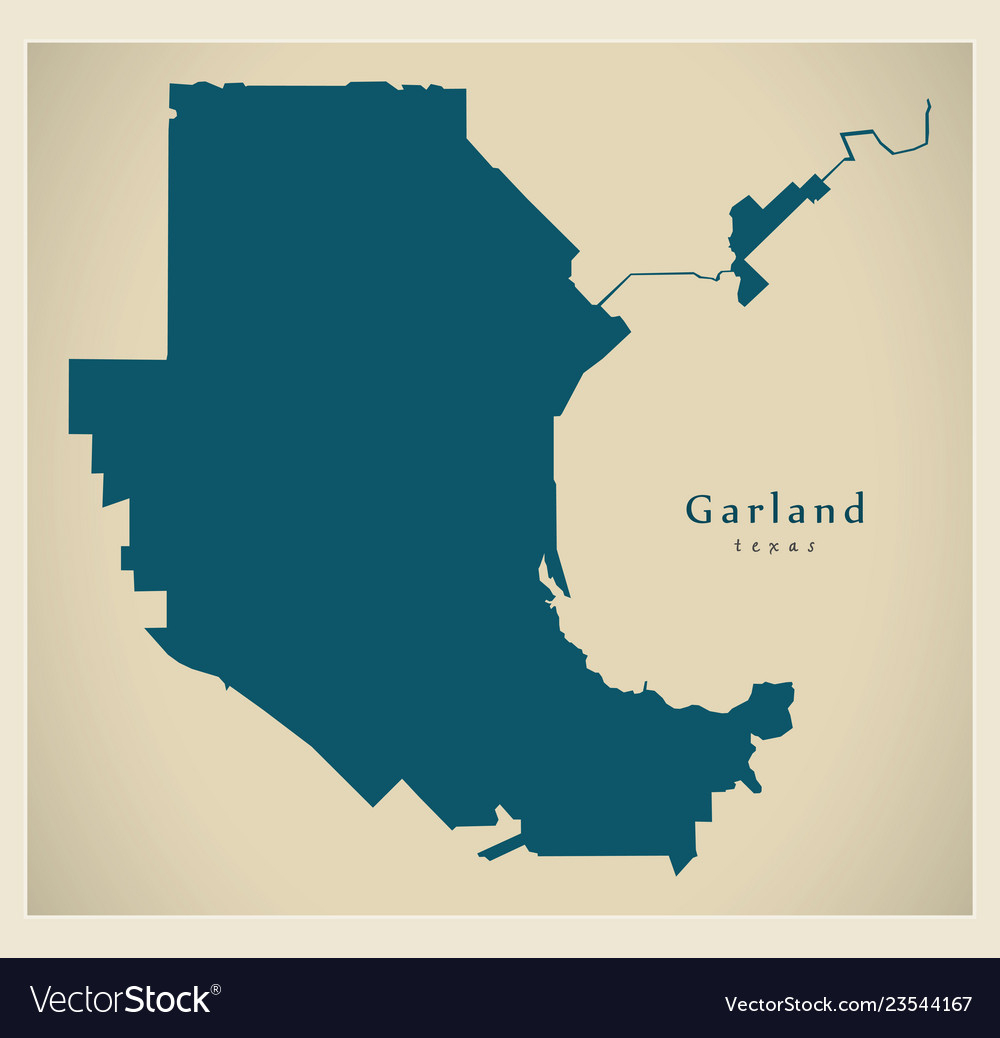 Modern City Map - Garland Texas City Of The Usa Vector Image - Garland Texas Map