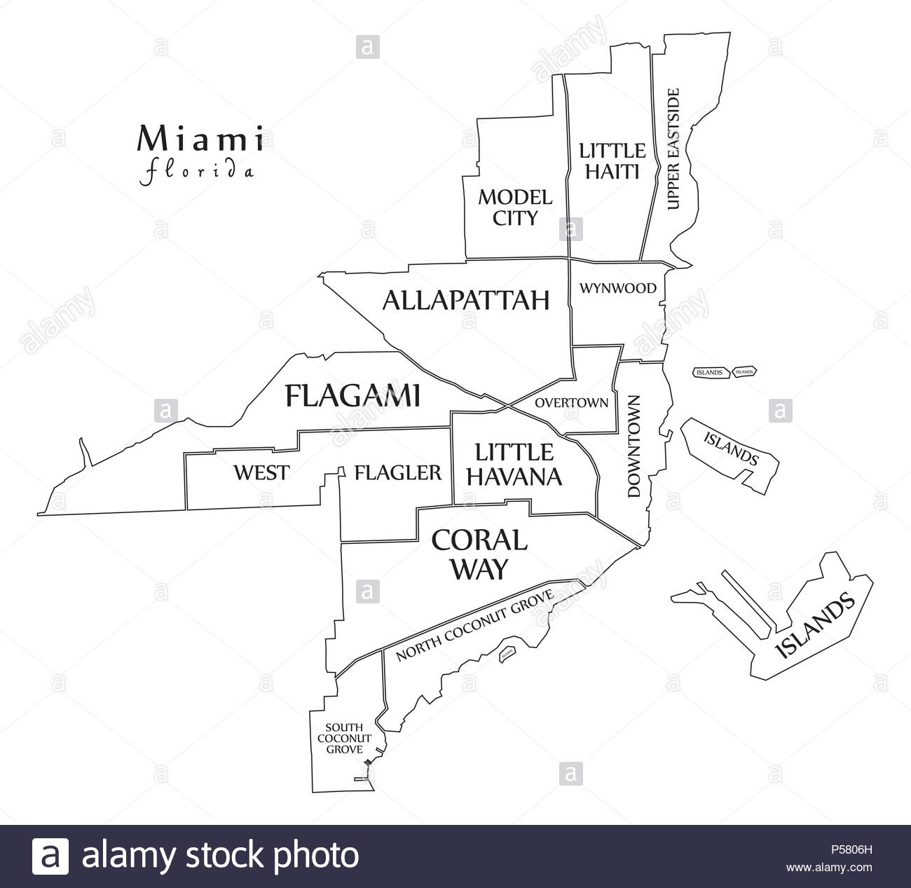 Modern City Map - Miami Florida City Of The Usa With Neighborhoods - Florida City Map Outline